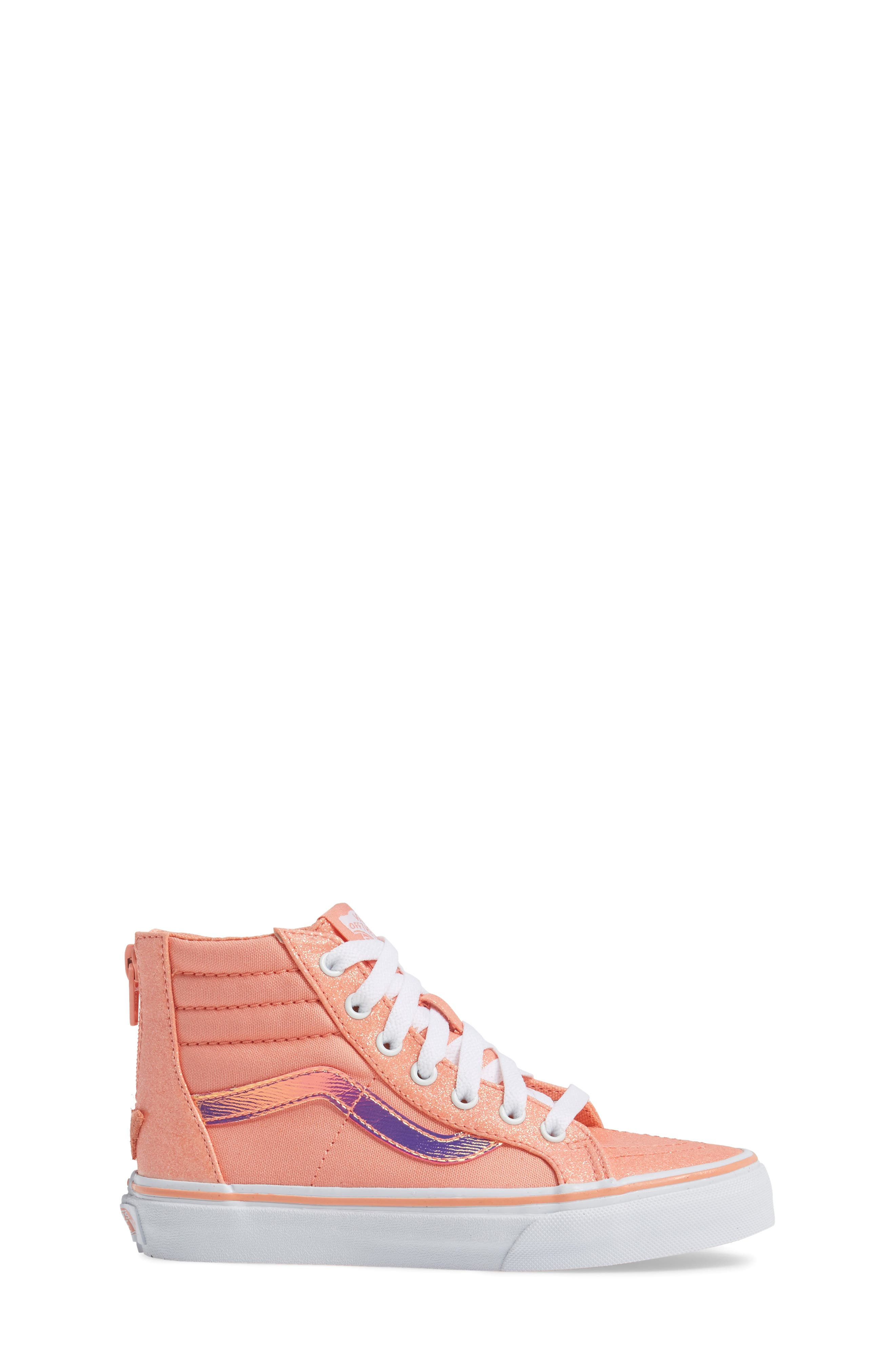 Sk8-Hi Zip Sneaker,                             Alternate thumbnail 3, color,                             Coral Glitter/ Iridescent