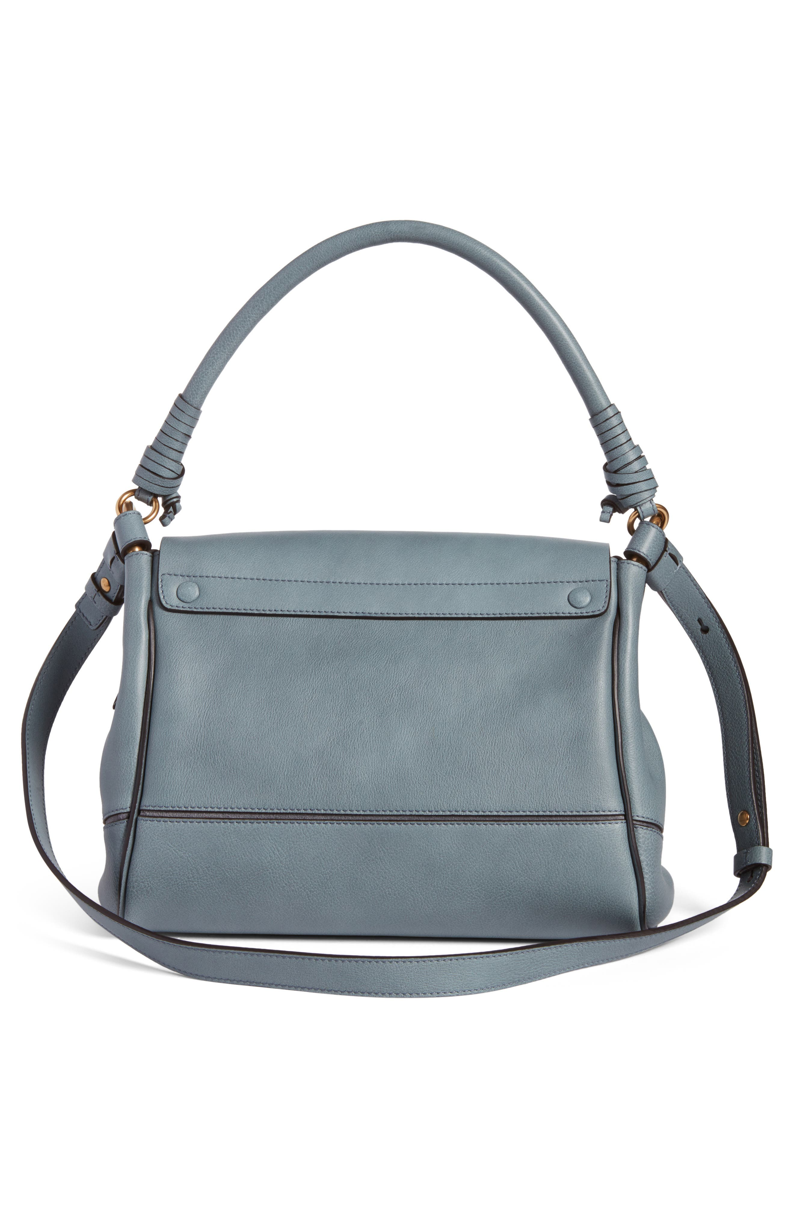Small Owen Calfskin Leather Satchel,                             Alternate thumbnail 2, color,                             Cloudy Blue