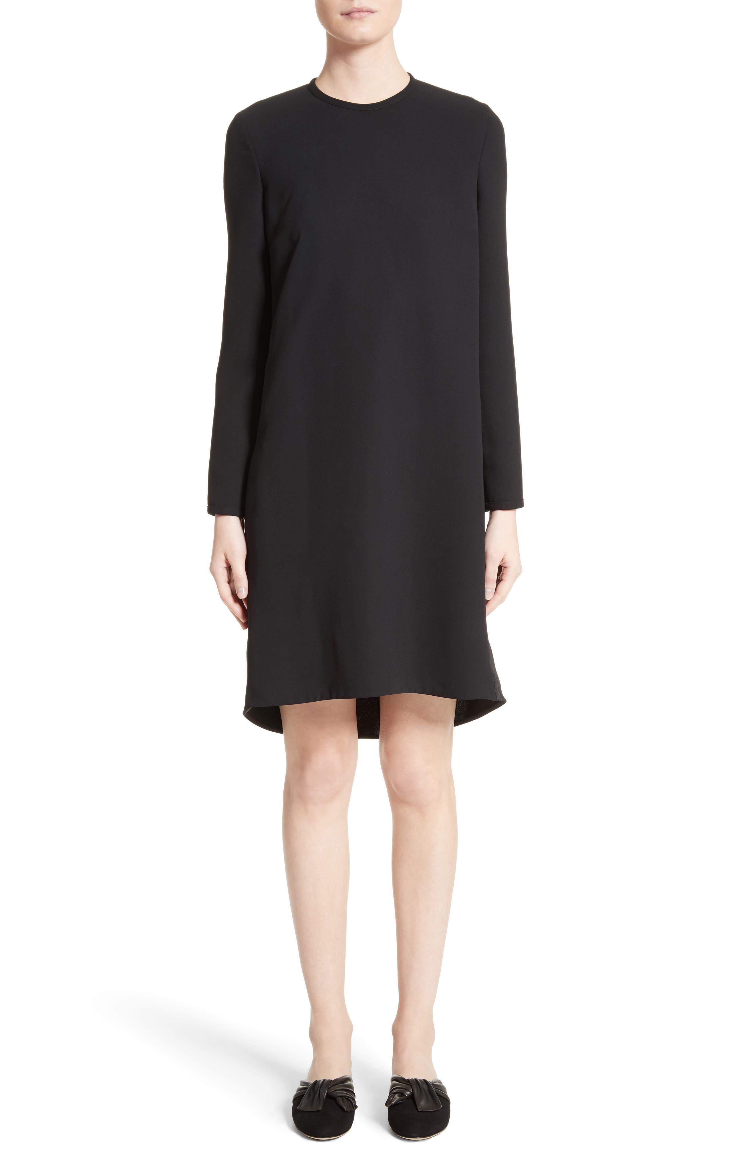 Gathered Open Back Shift Dress,                         Main,                         color, Black
