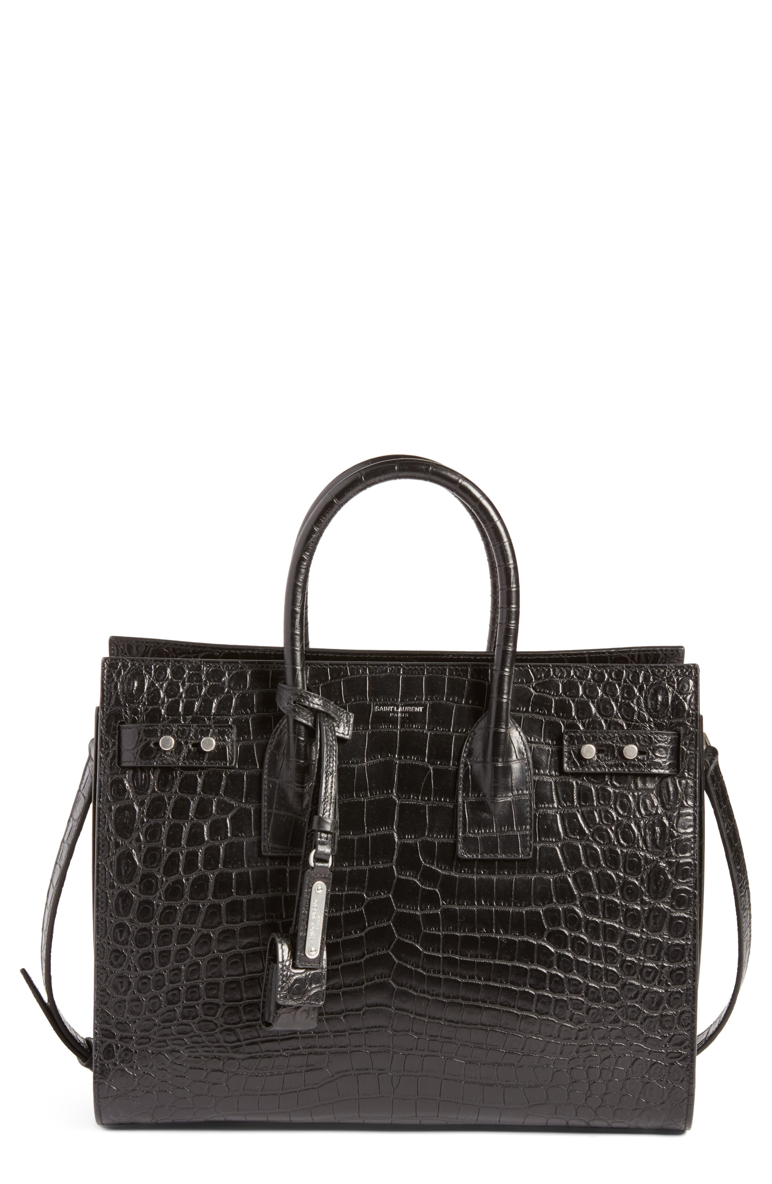 Saint Laurent Small Sac de Jour Embossed Calfskin Satchel