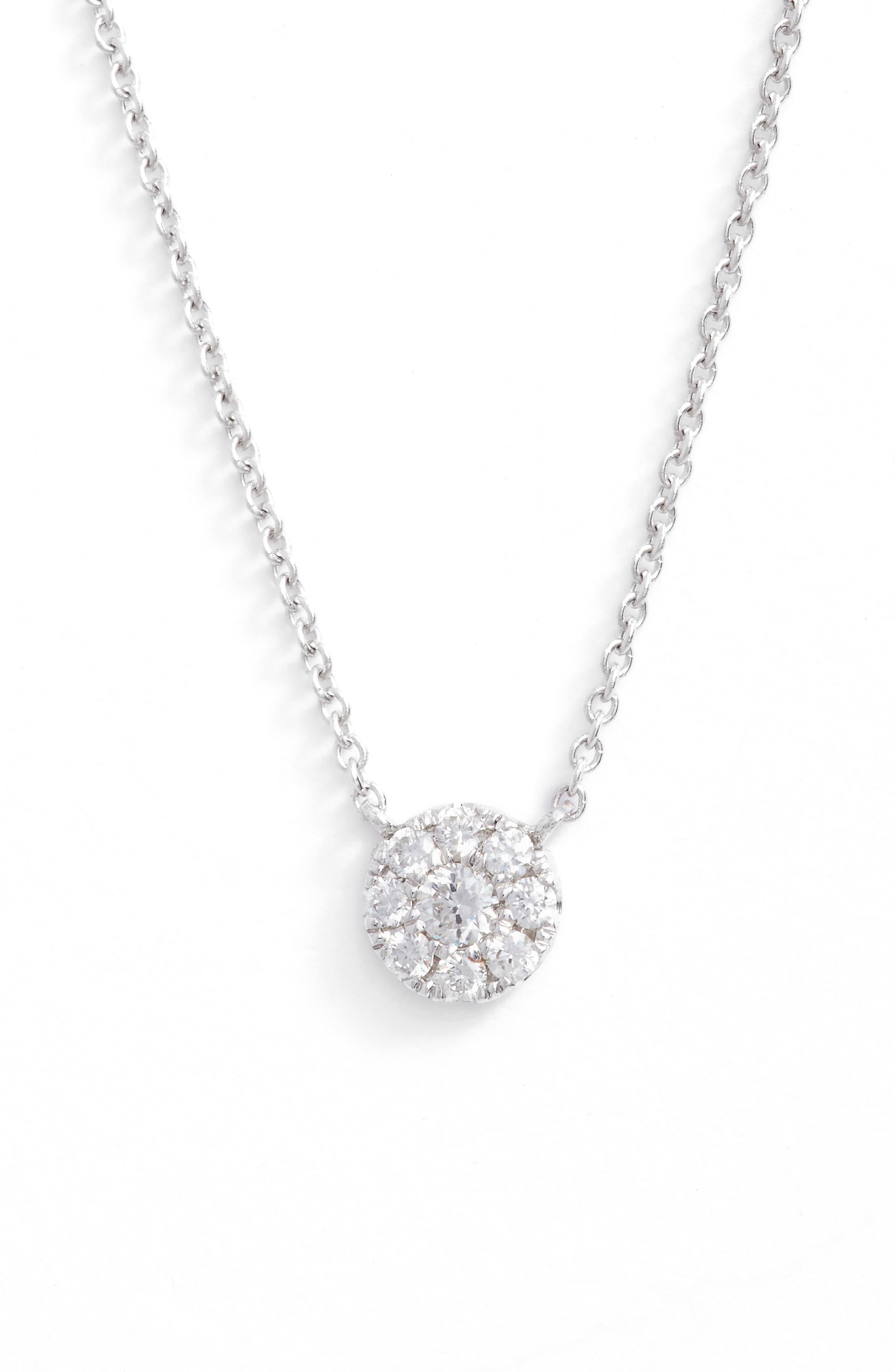 Ella Diamond Pendant Necklace,                             Main thumbnail 1, color,                             White Gold