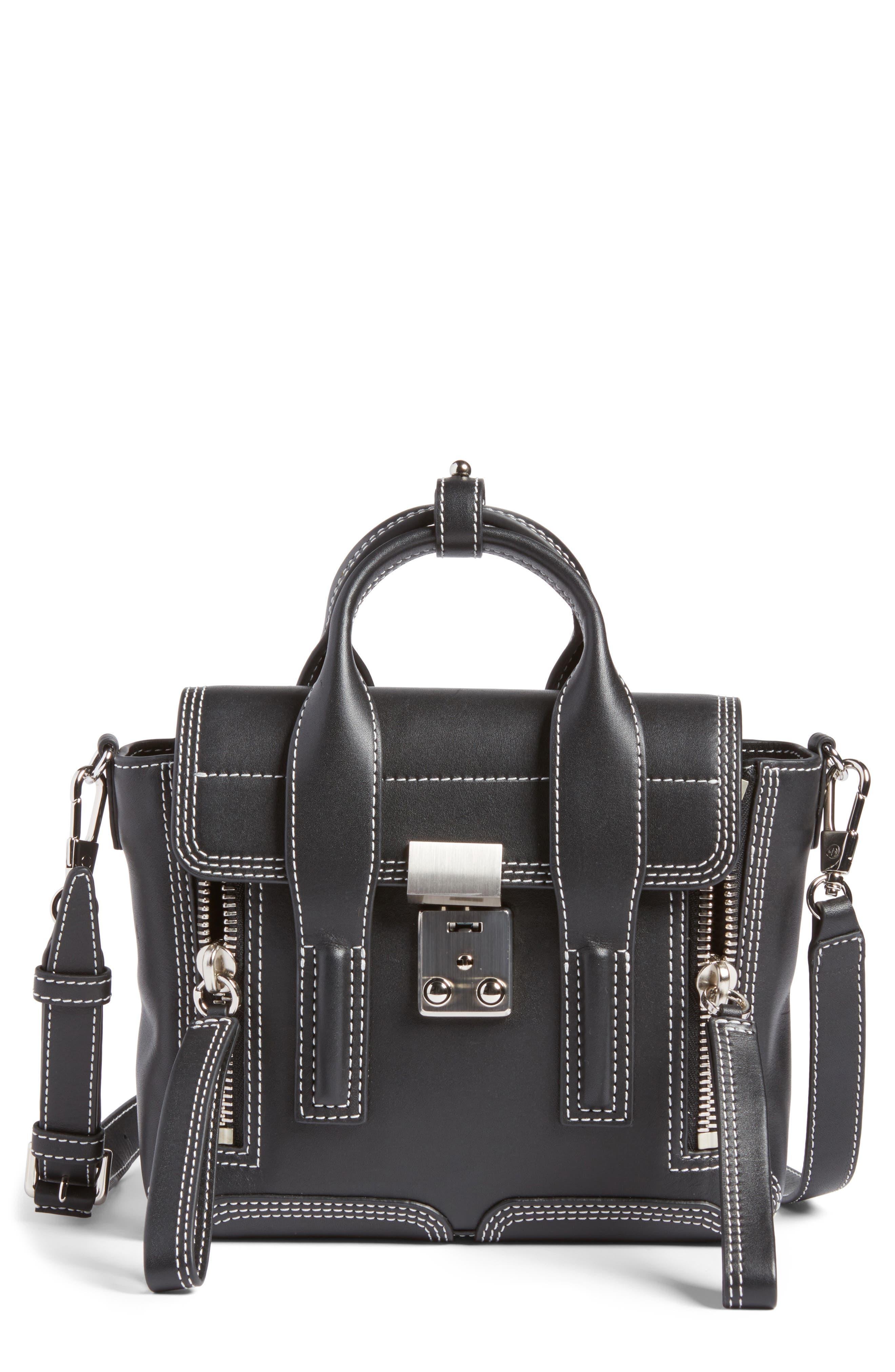 Mini Pashli Leather Satchel,                         Main,                         color, Black