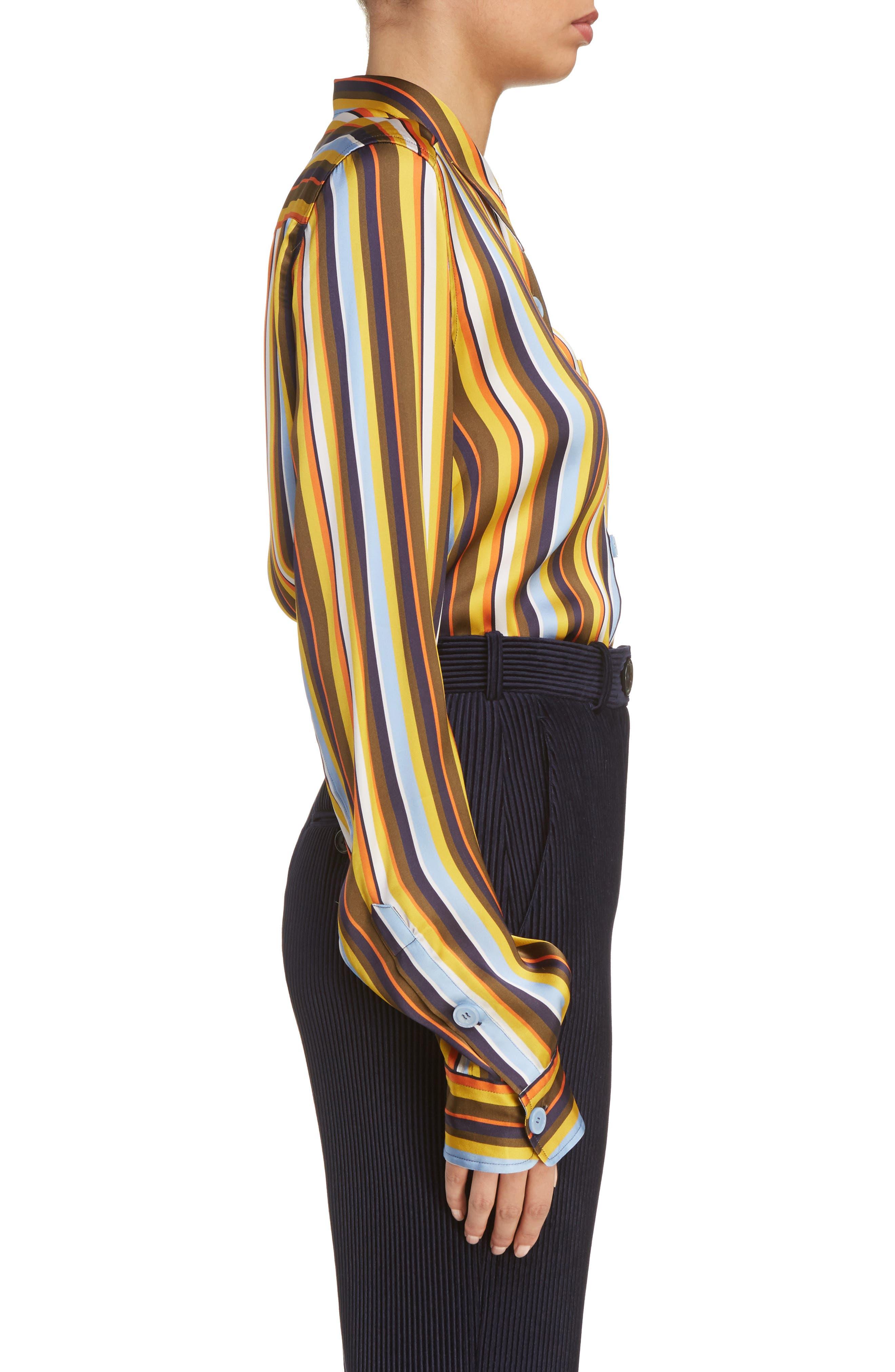Buse Multistripe Blouse,                             Alternate thumbnail 4, color,                             Multi Stripe Brown