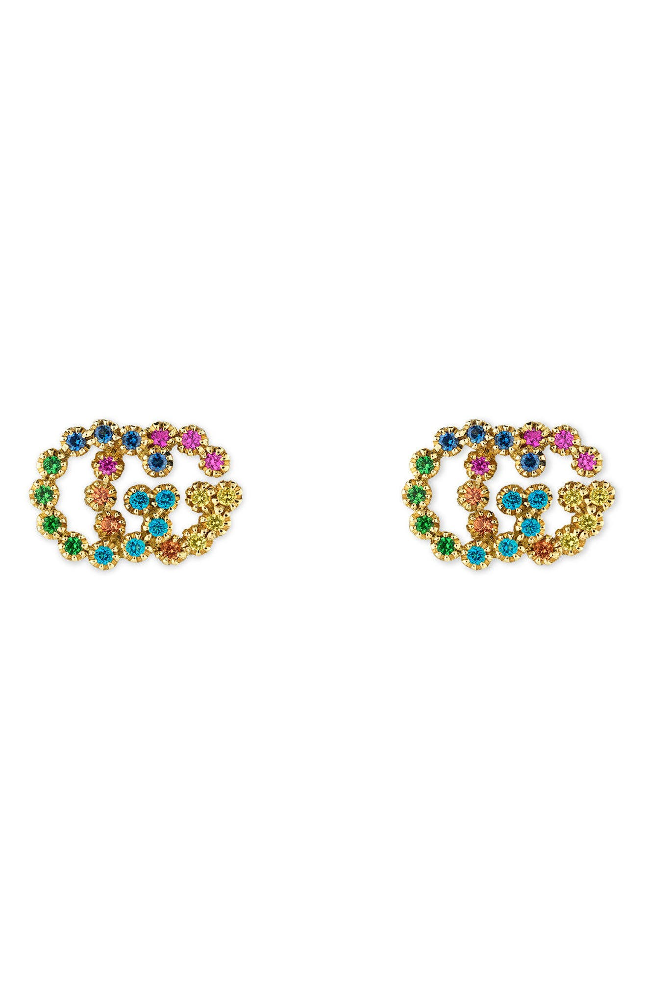 Double-G Multistone Stud Earrings,                         Main,                         color, Yellow Gold