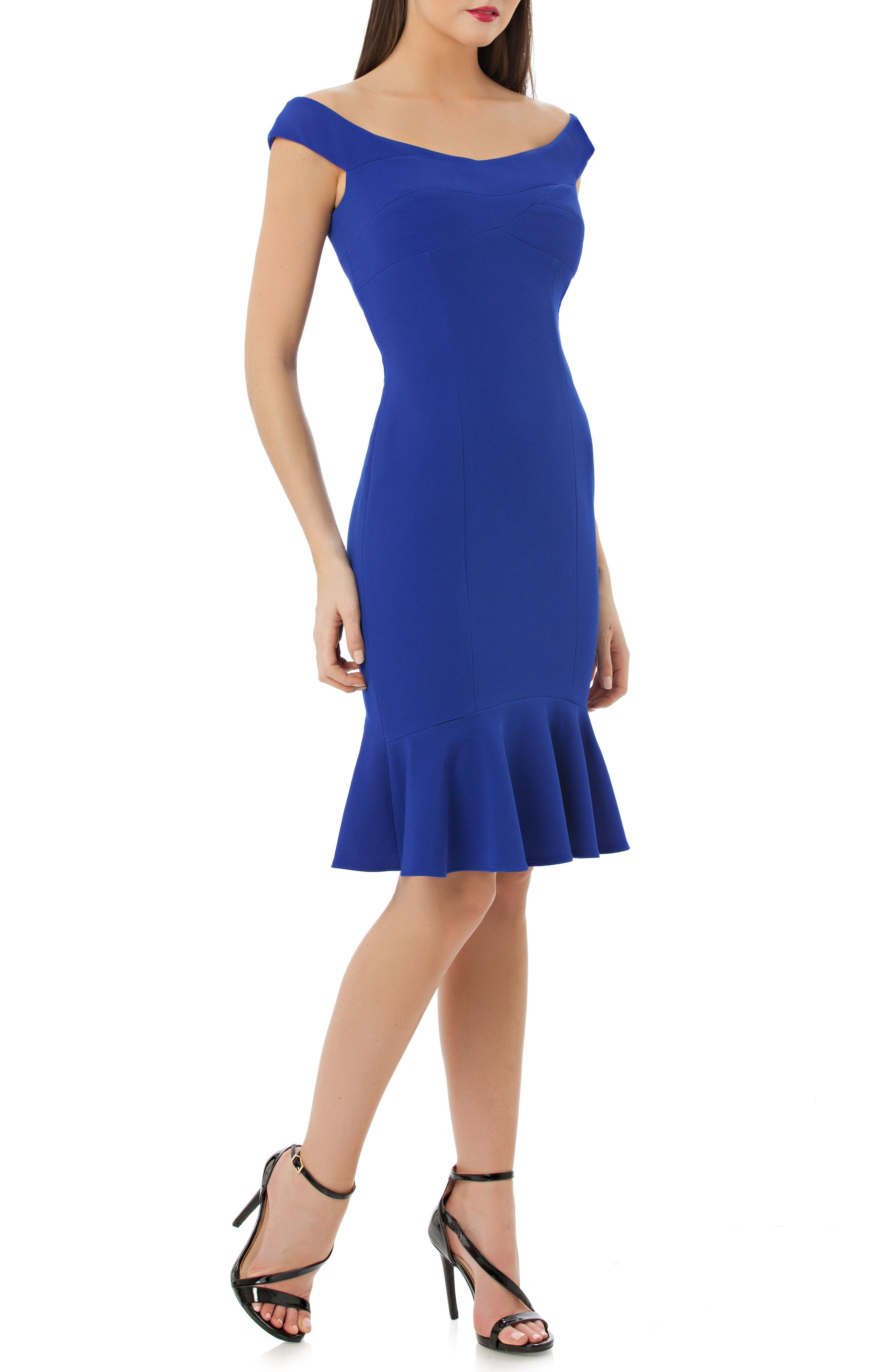 Off the Shoulder Cocktail Dress,                             Main thumbnail 1, color,                             Royal