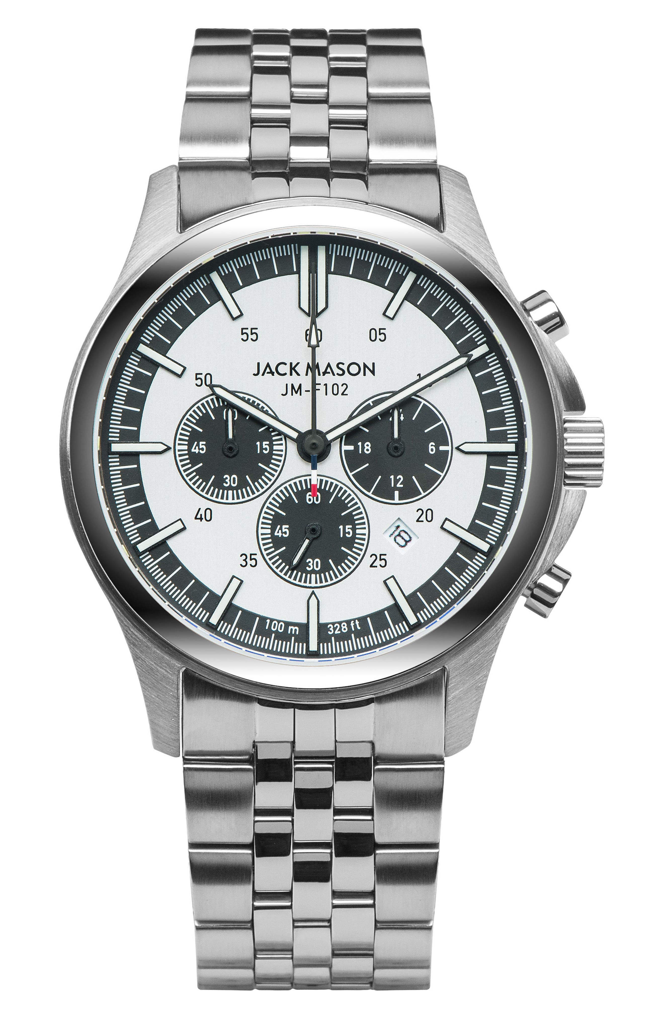 Field Chronograph Bracelet Watch, 42mm,                         Main,                         color, Silver/ Silver