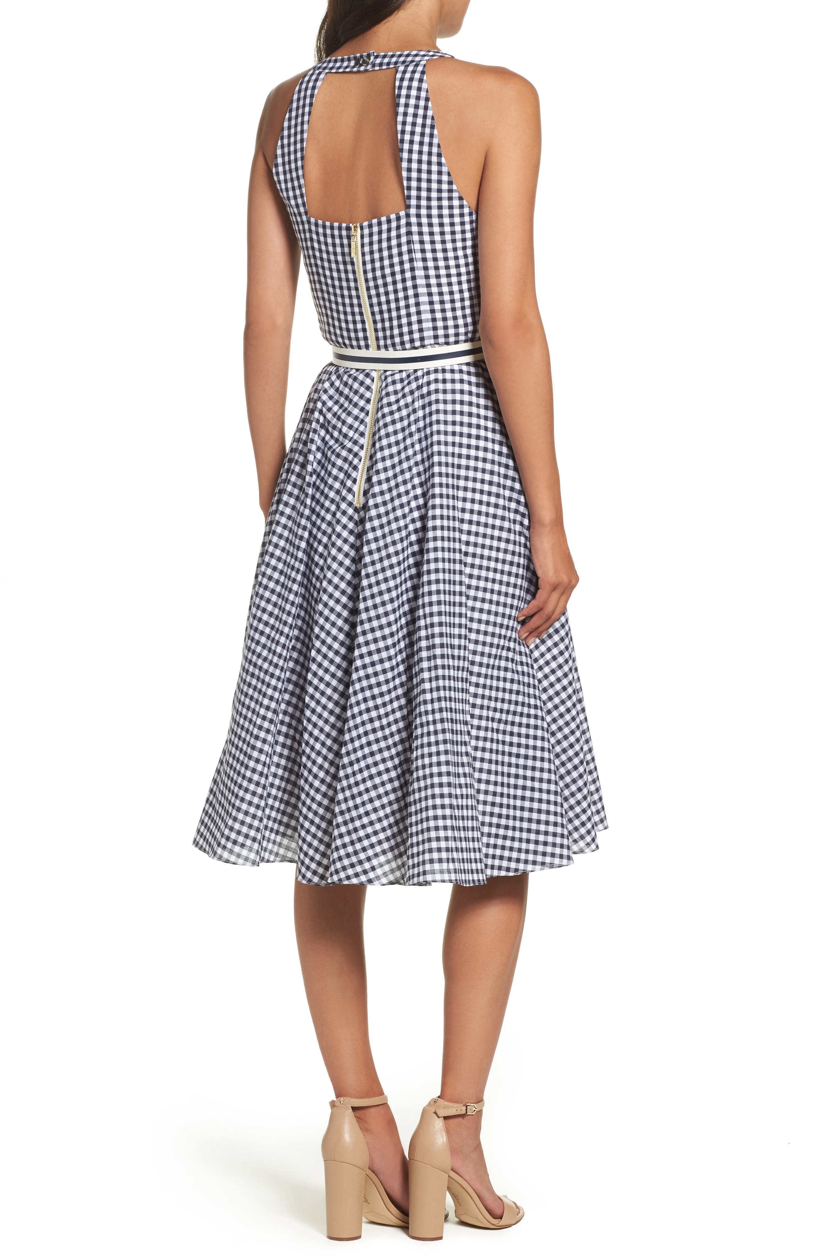 Belted Fit & Flare Dress,                             Alternate thumbnail 2, color,                             Navy/ Ivory