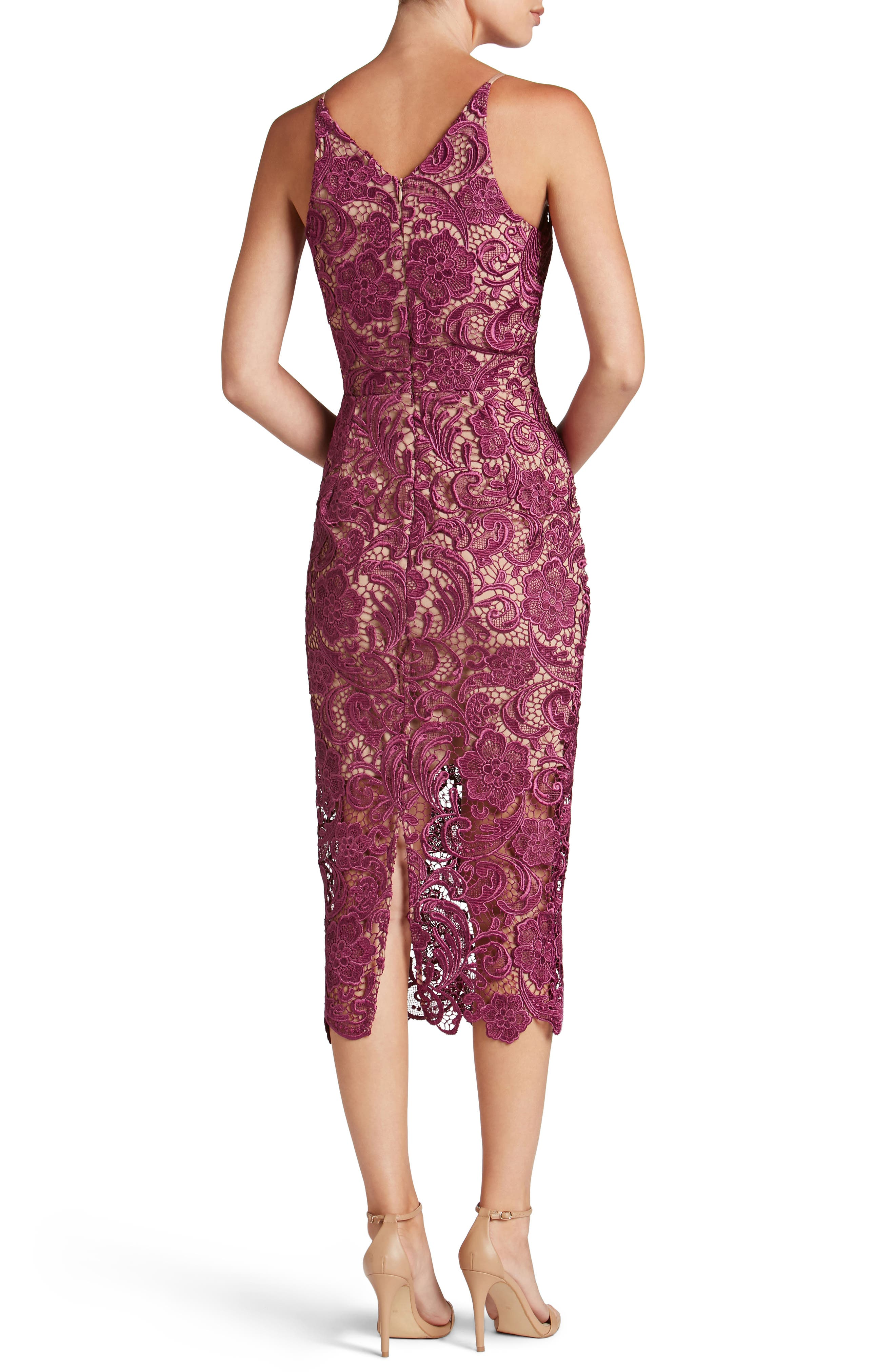 Alternate Image 2  - Dress the Population 'Marie' Lace Midi Dress