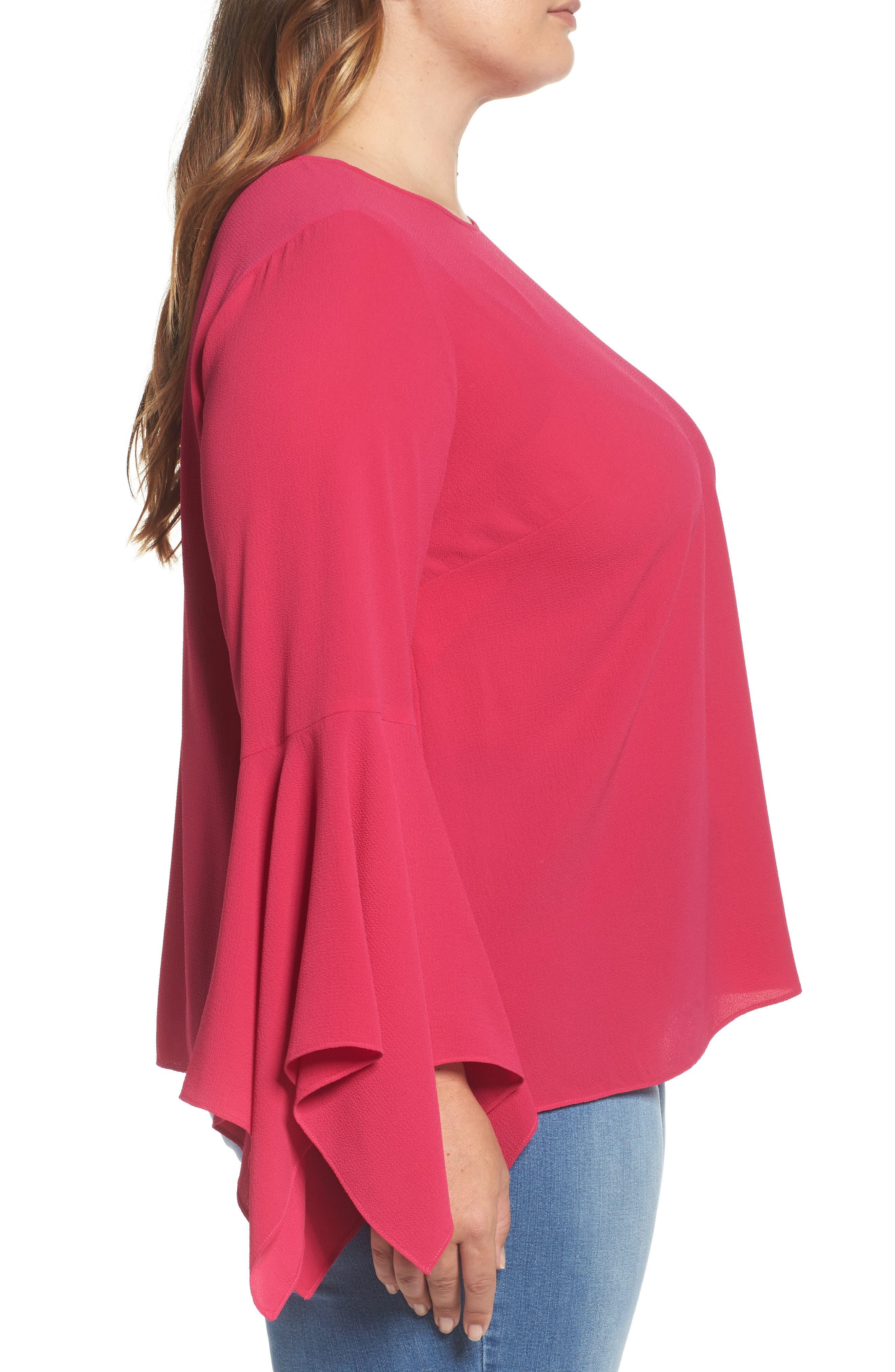 Alternate Image 3  - Vince Camuto Handkerchief Sleeve Blouse (Plus Size)