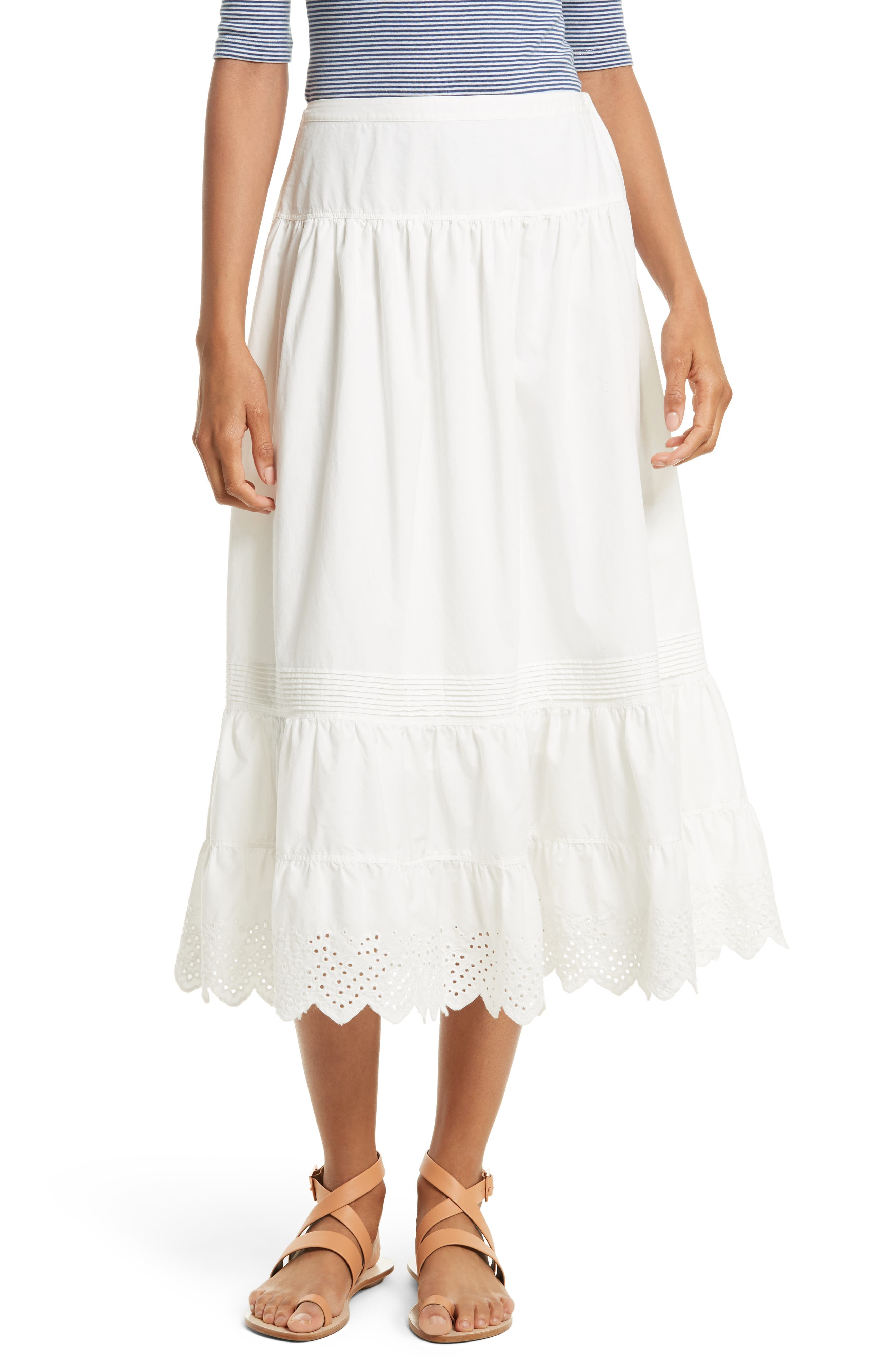 La Vie Rebecca Taylor Eyelet Border Poplin Skirt