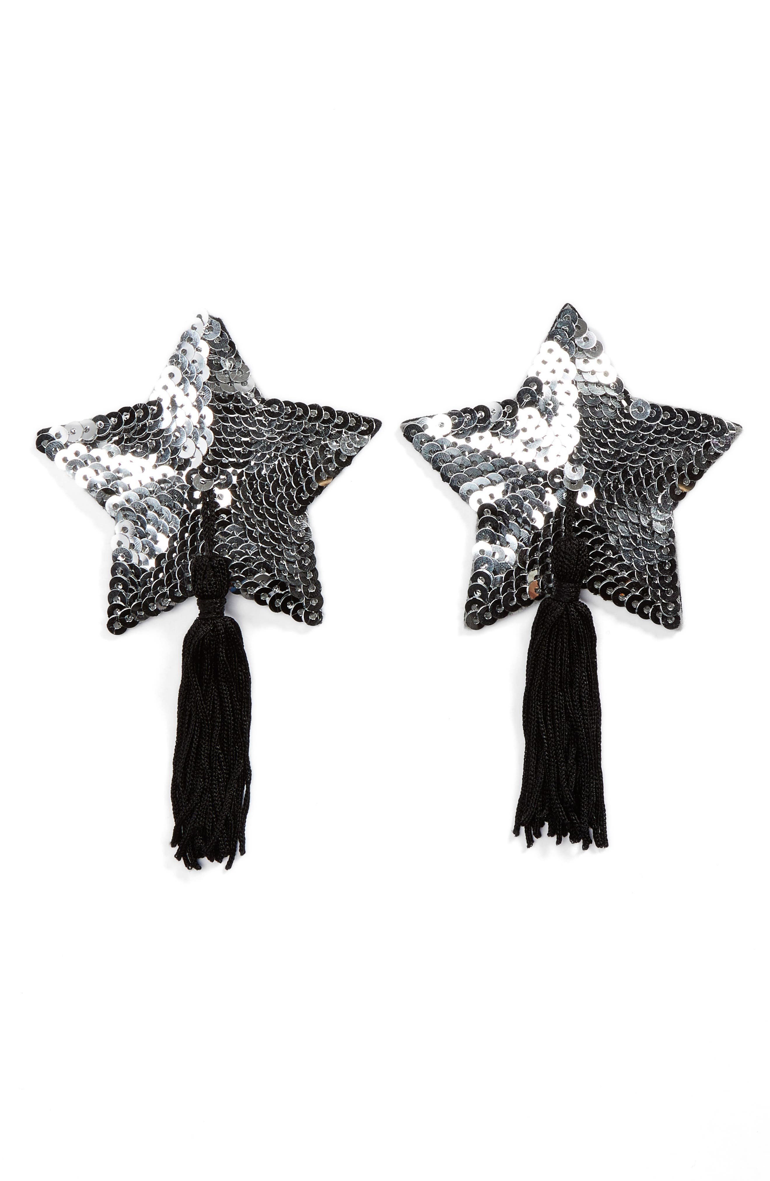 BRISTOLS6 Stella Tassel Nipple Covers in Silver