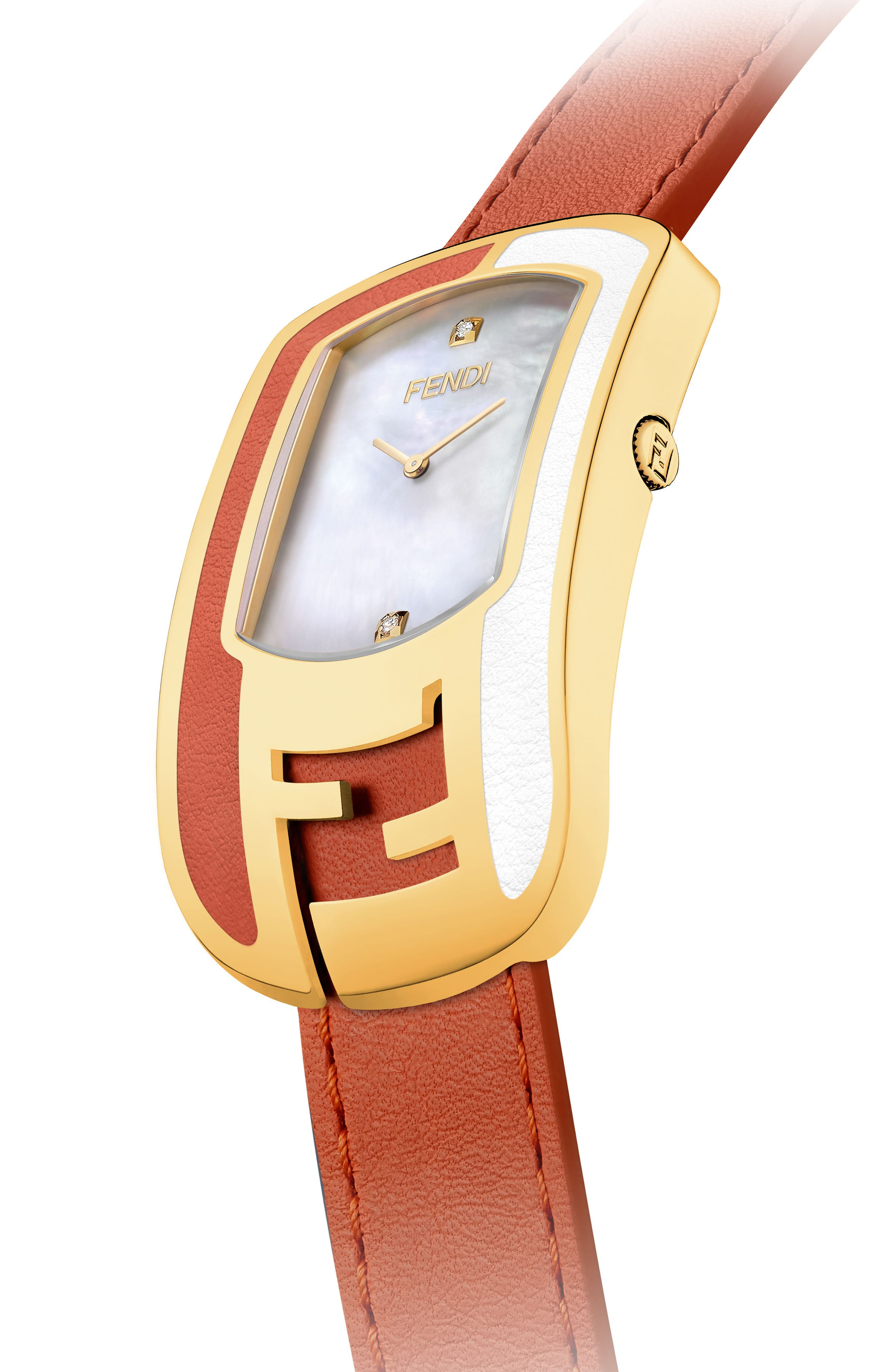 Chameleon Leather Strap Watch, 29mm x 49mm,                             Alternate thumbnail 2, color,                             Red/ Mop/ Gold