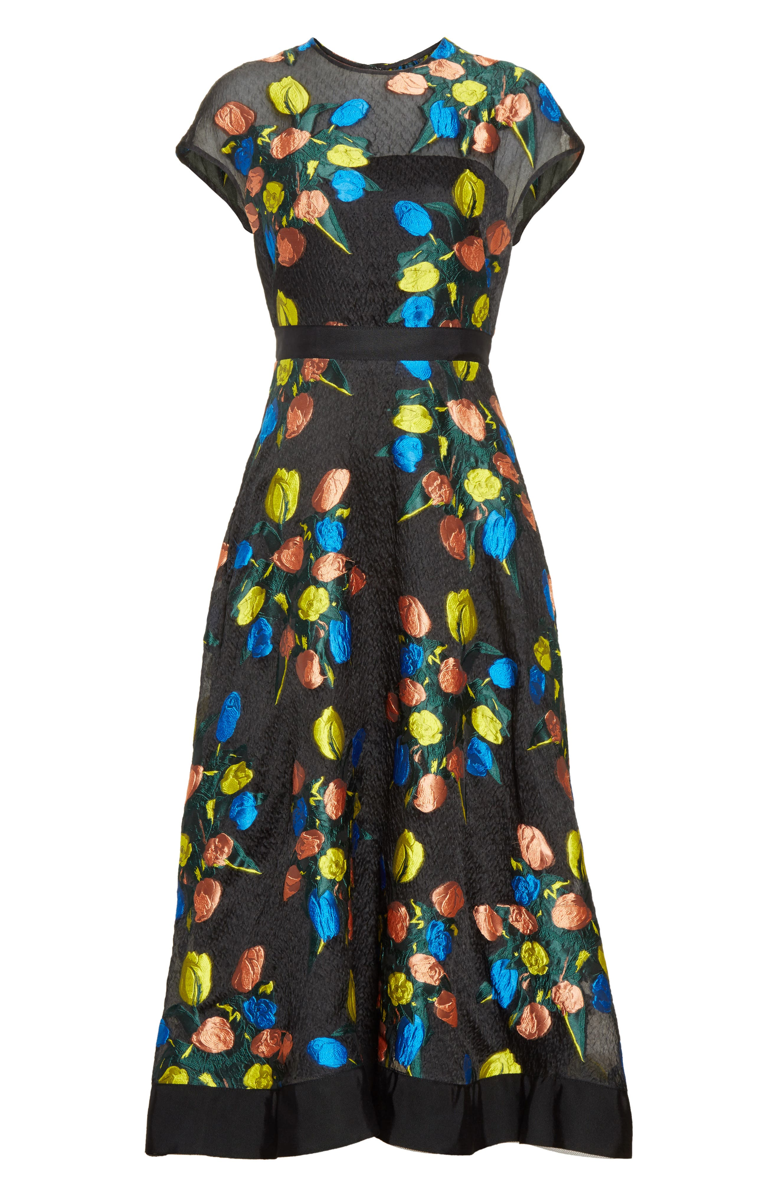 Alternate Image 4  - Lela Rose Tulip Embroidered Fit & Flare Dress