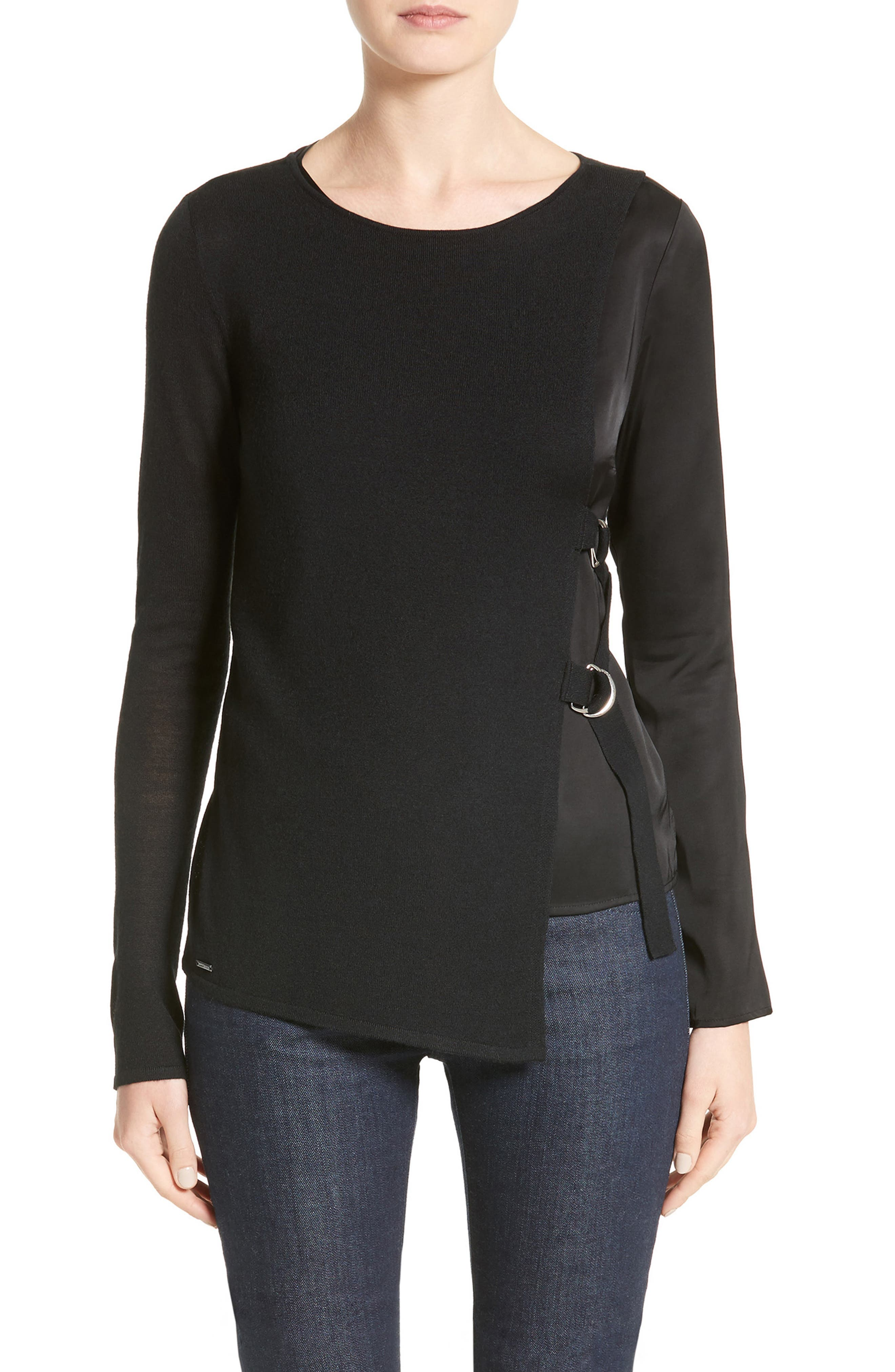 Armani Jeans D-Ring Wool Blend Sweater,                         Main,                         color, Black