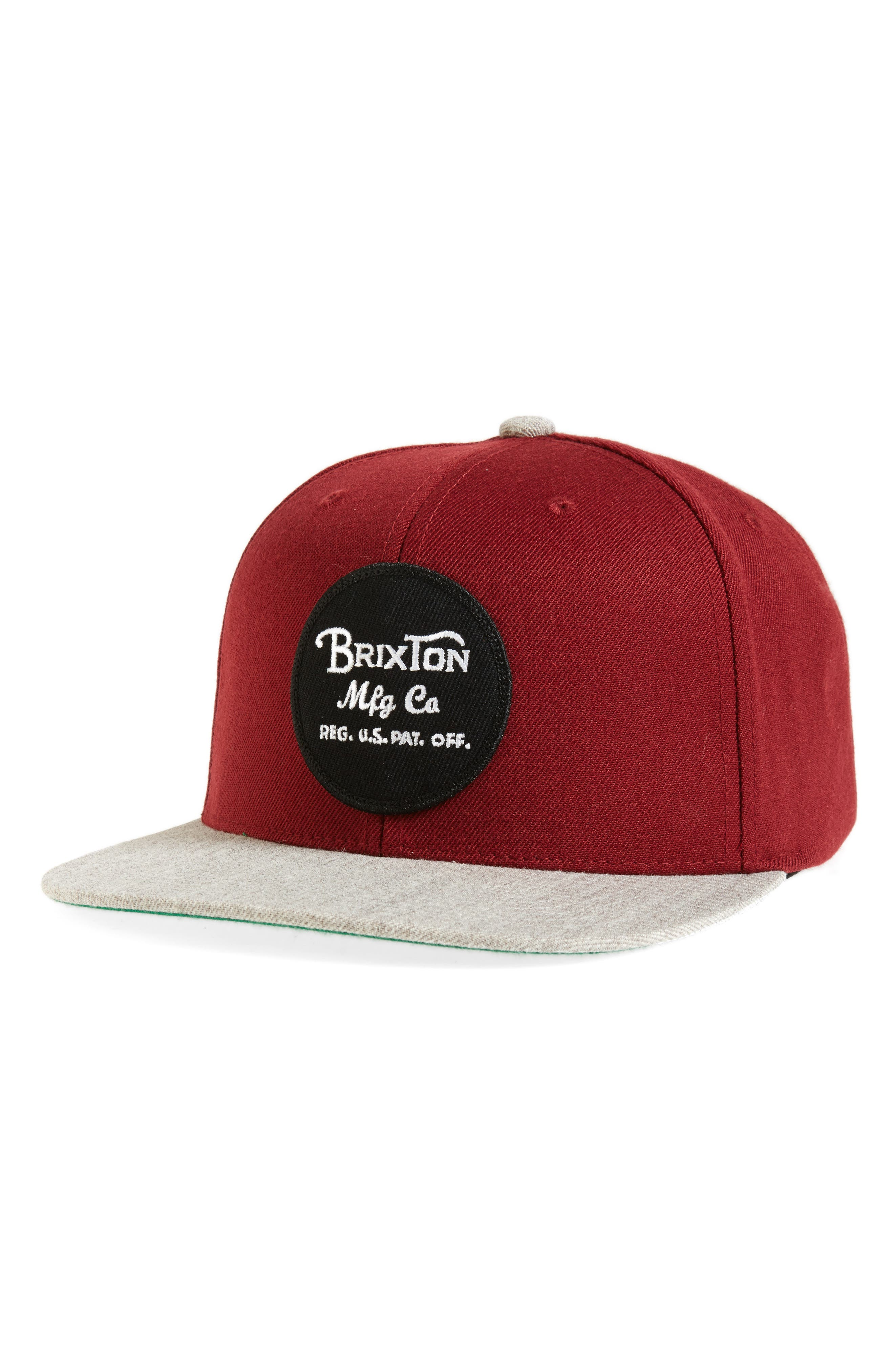 Wheeler Snapback Baseball Cap,                         Main,                         color, Burgundy/ Heather Grey