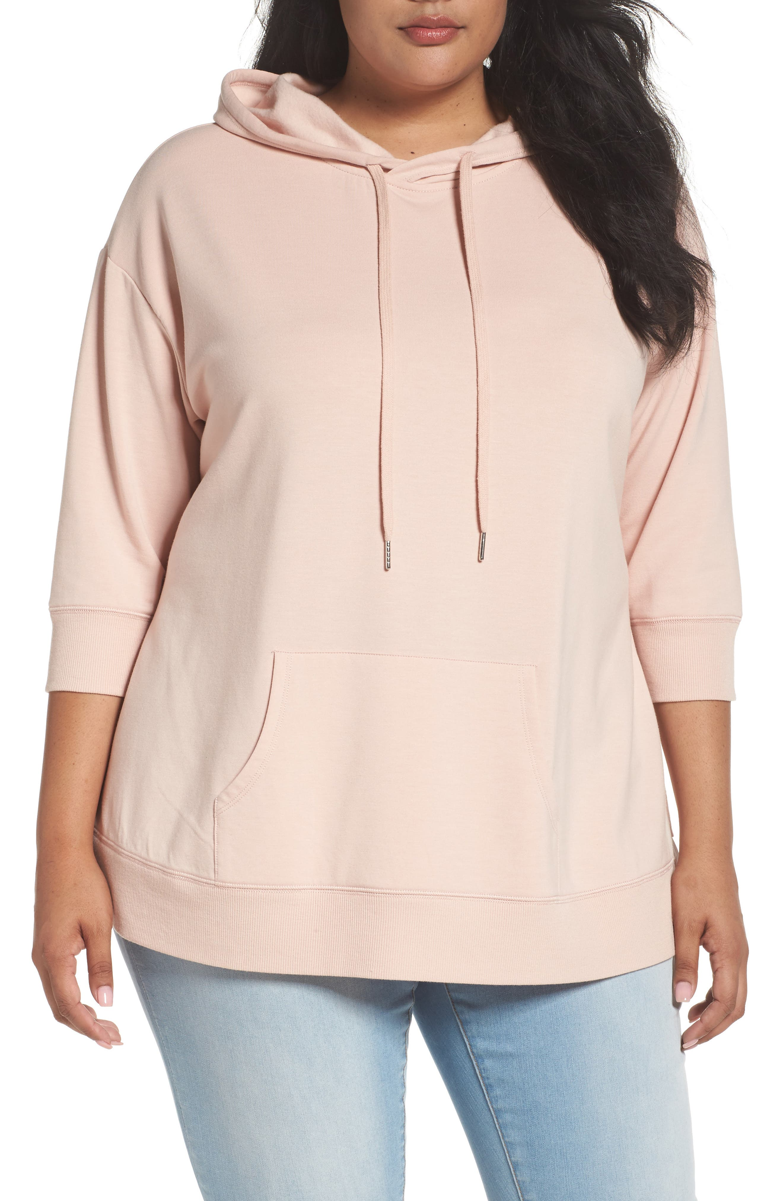 Caslon® Mixed Media Hoodie (Plus Size)