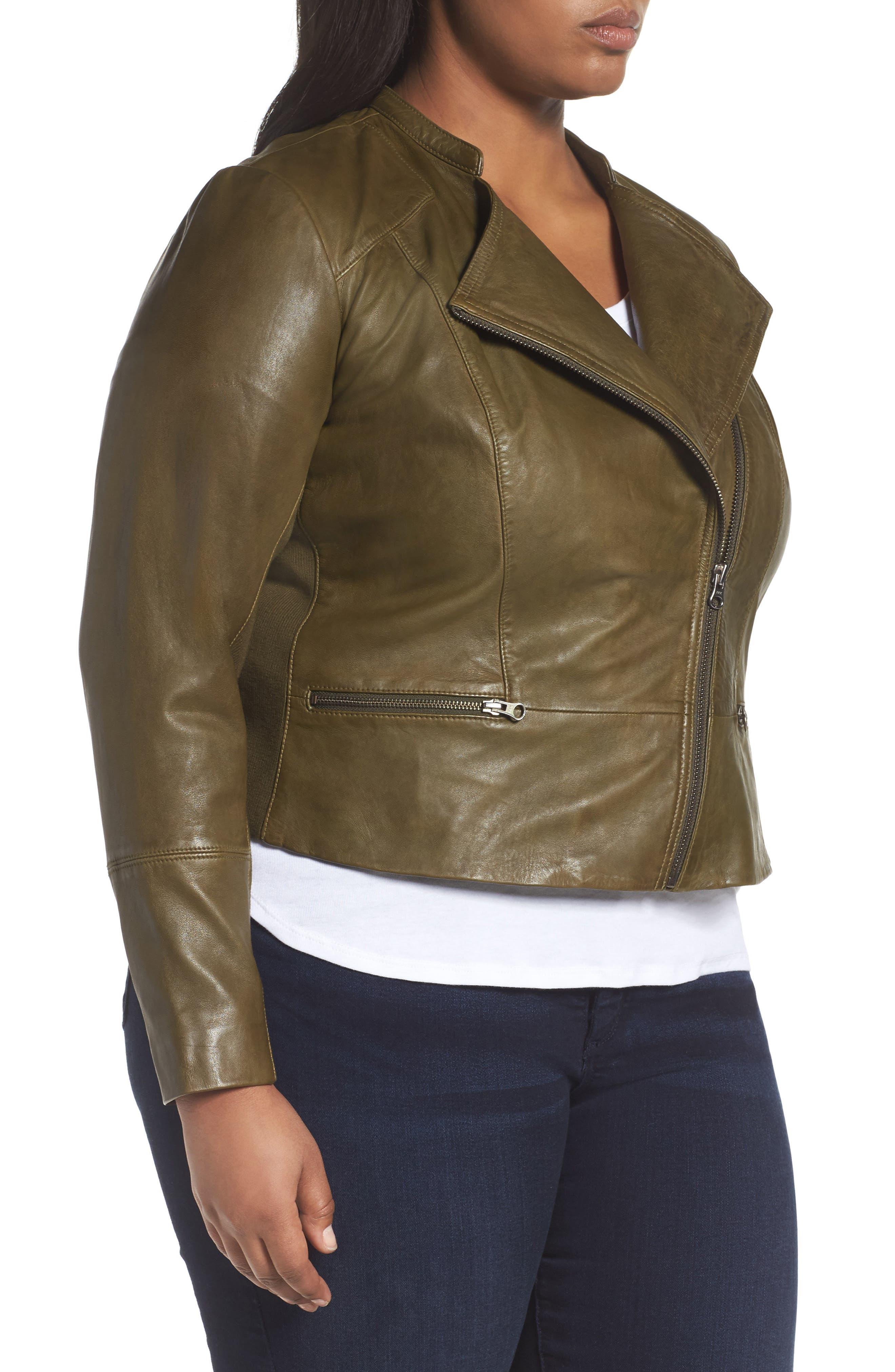 Alternate Image 3  - Sejour Leather Moto Jacket (Plus Size)