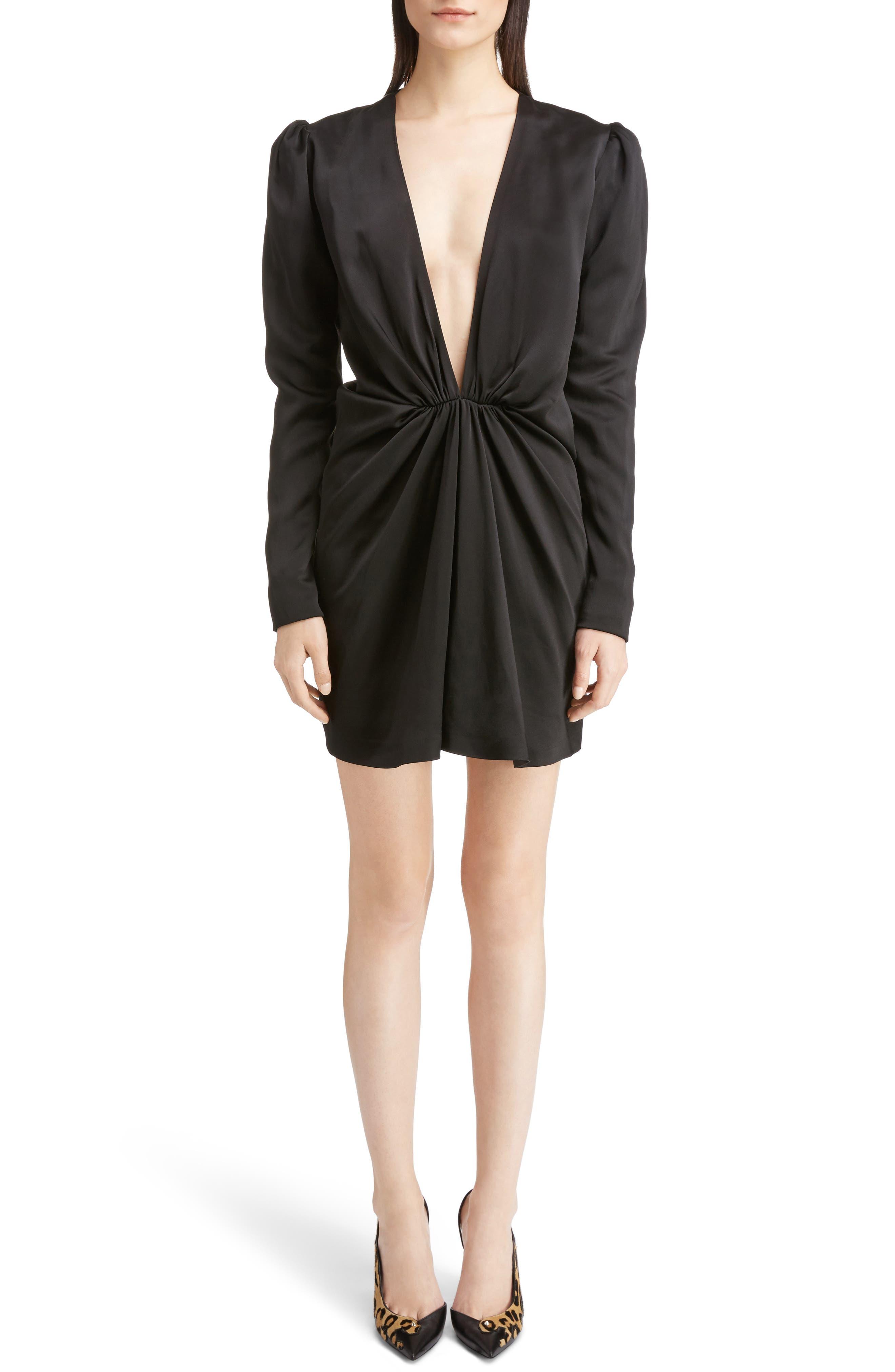Satin Cocktail Minidress,                         Main,                         color, Black