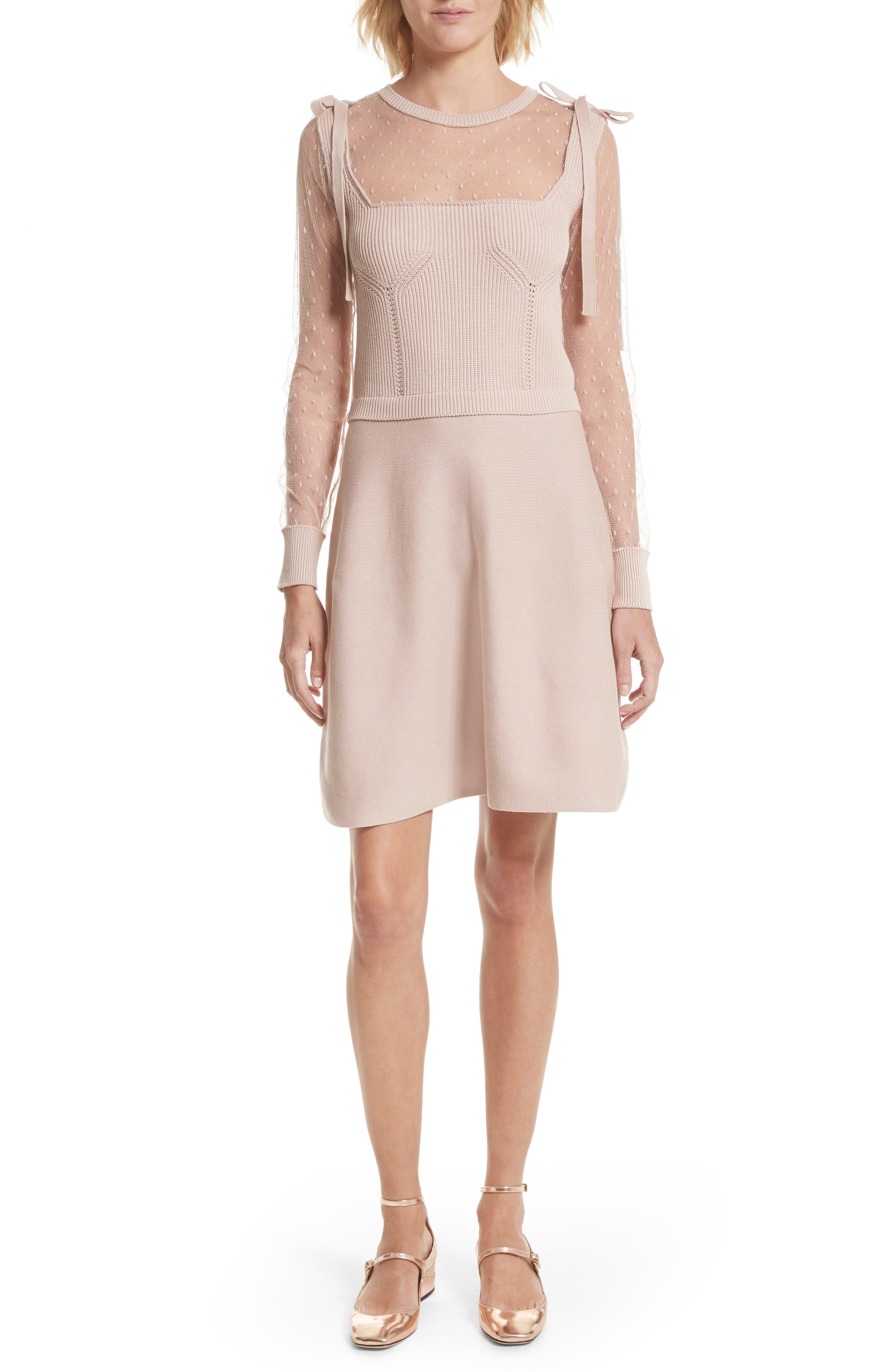 Point d'Esprit Cotton Dress,                         Main,                         color, Nude