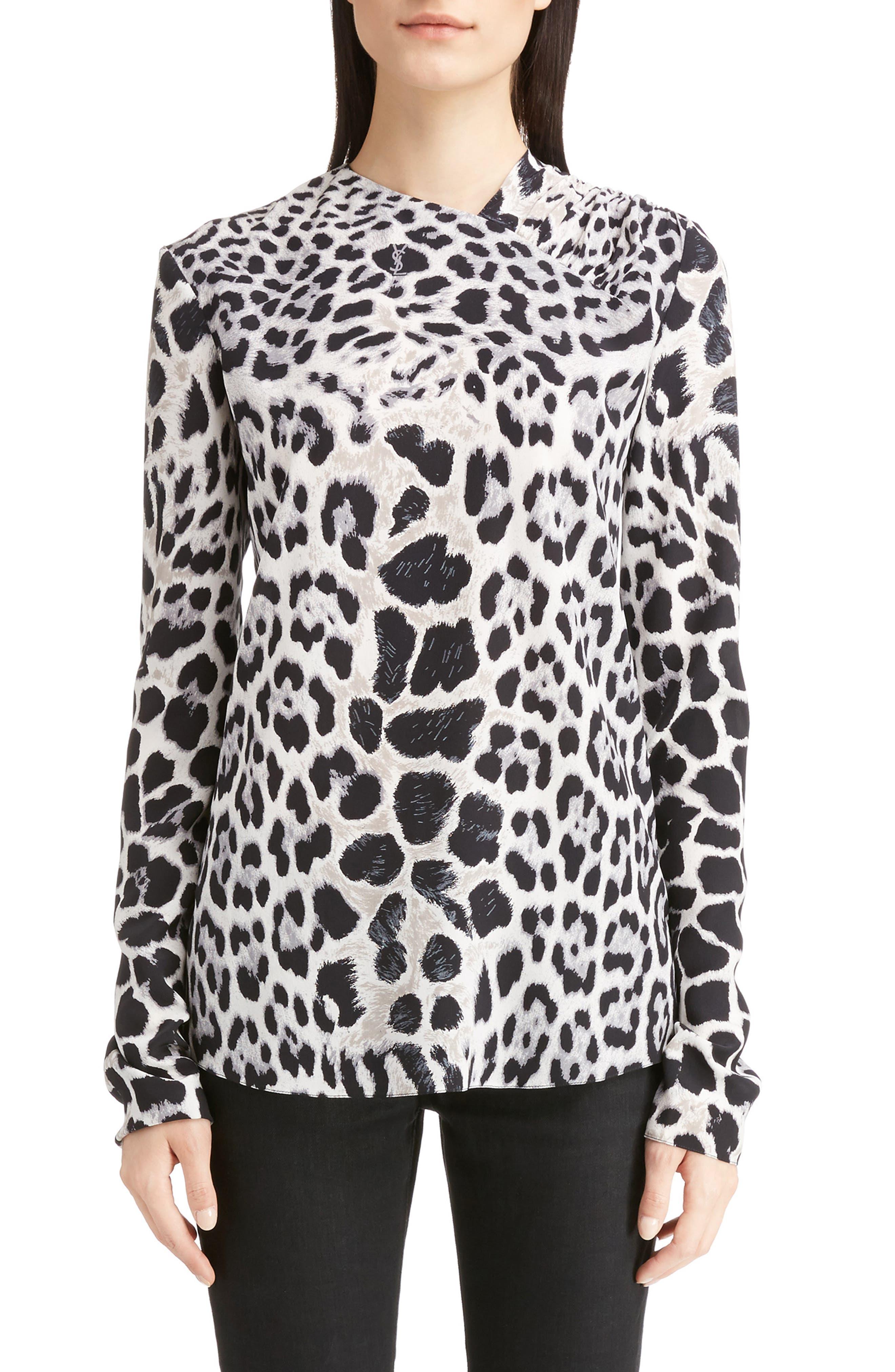 Saint Laurent Logo & Leopard Print Silk Crêpe de Chine Blouse