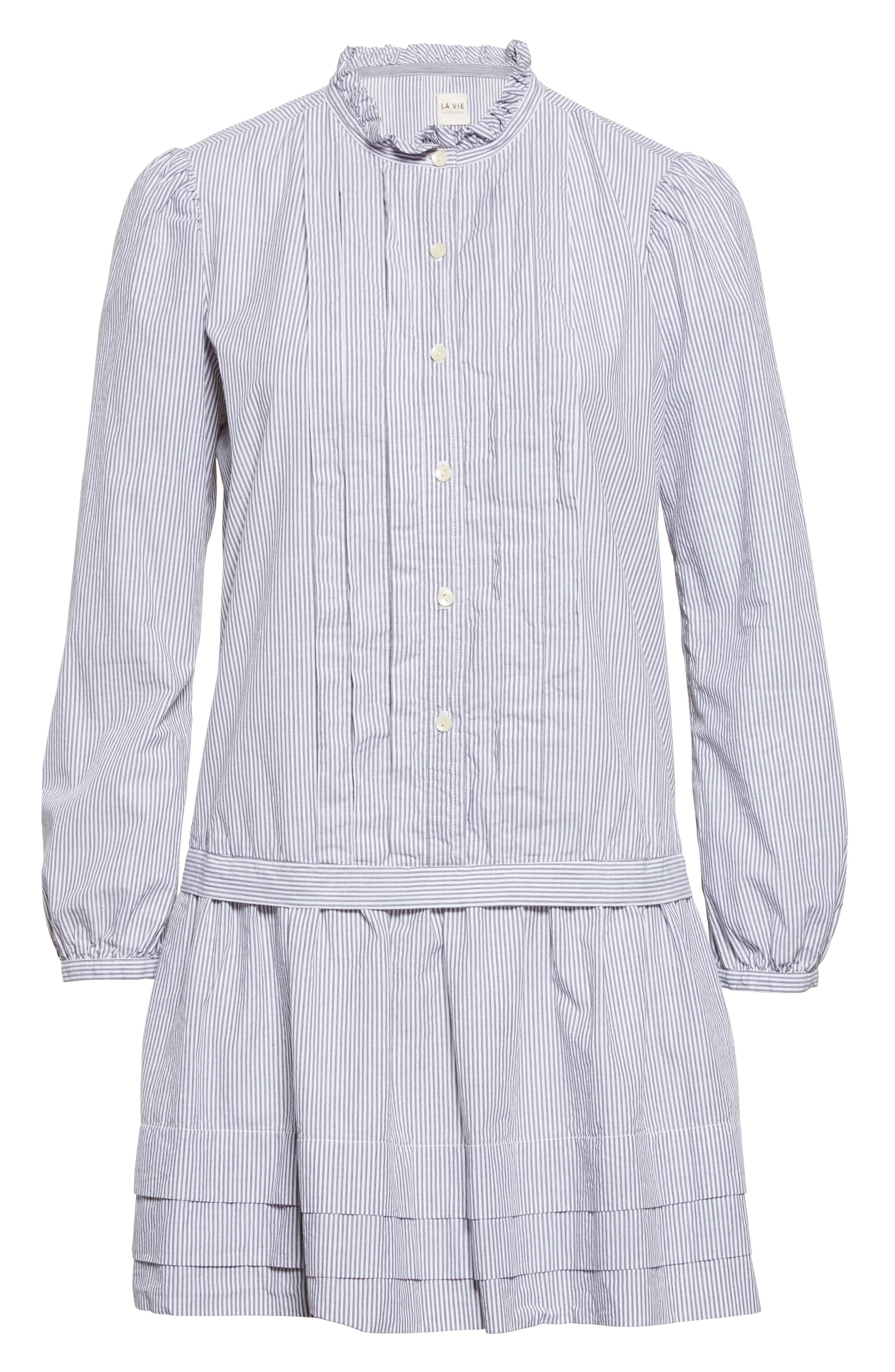 Cotton Shirtdress,                             Alternate thumbnail 6, color,                             Black/ Milk