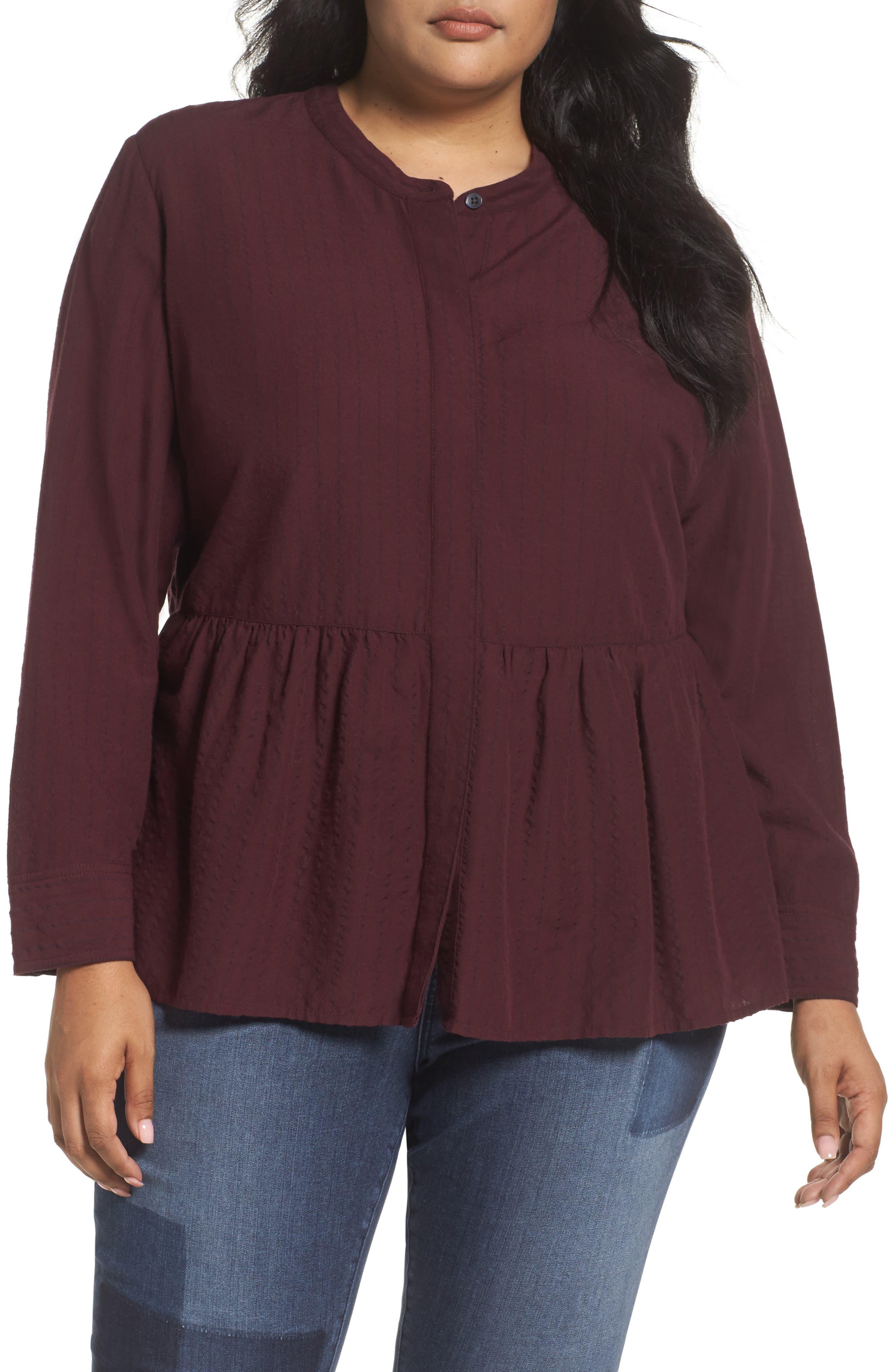 Caslon® Peplum Blouse (Plus Size)