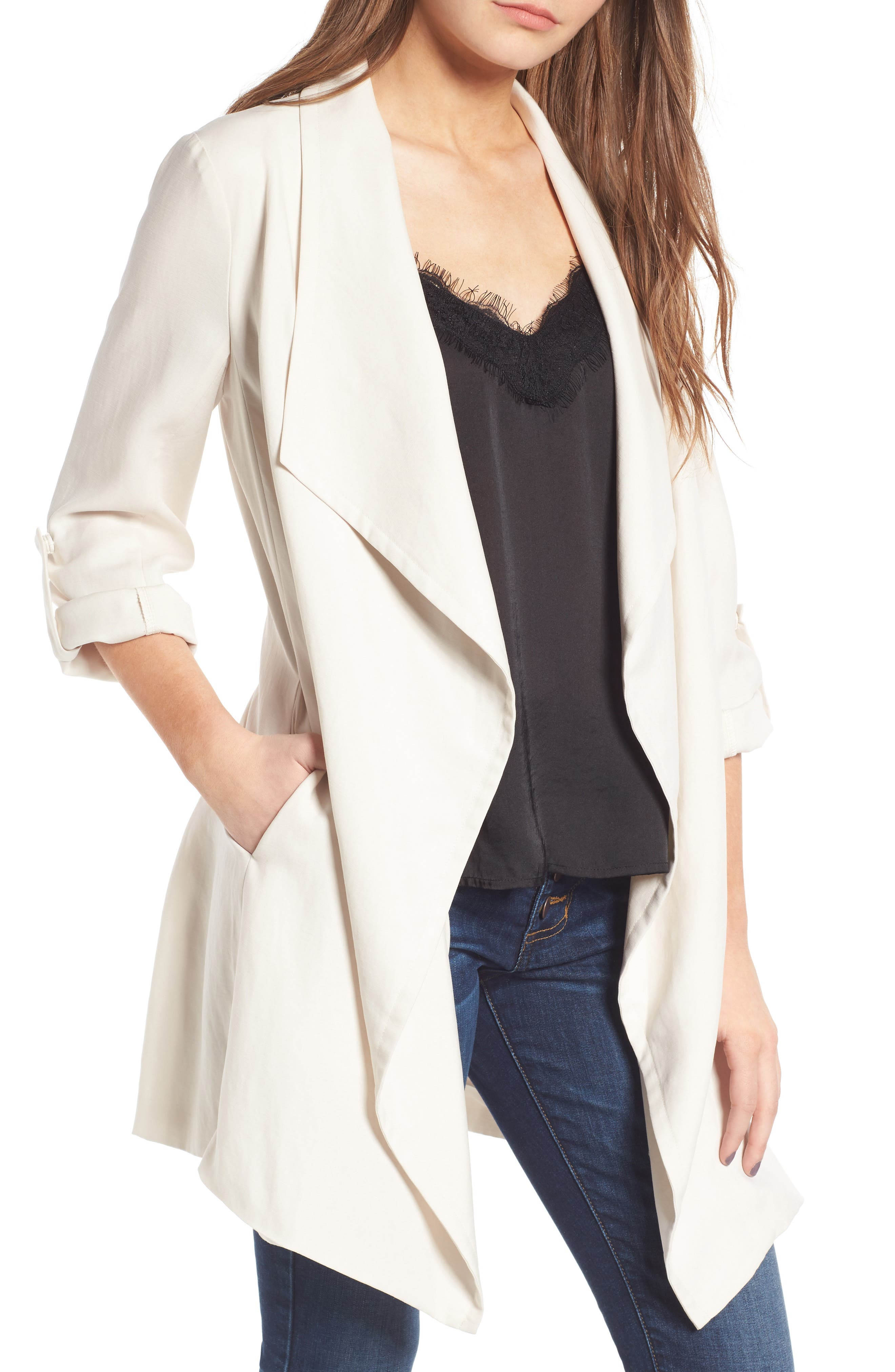 Drapey Roll Tab Sleeve Jacket,                         Main,                         color, White Sand