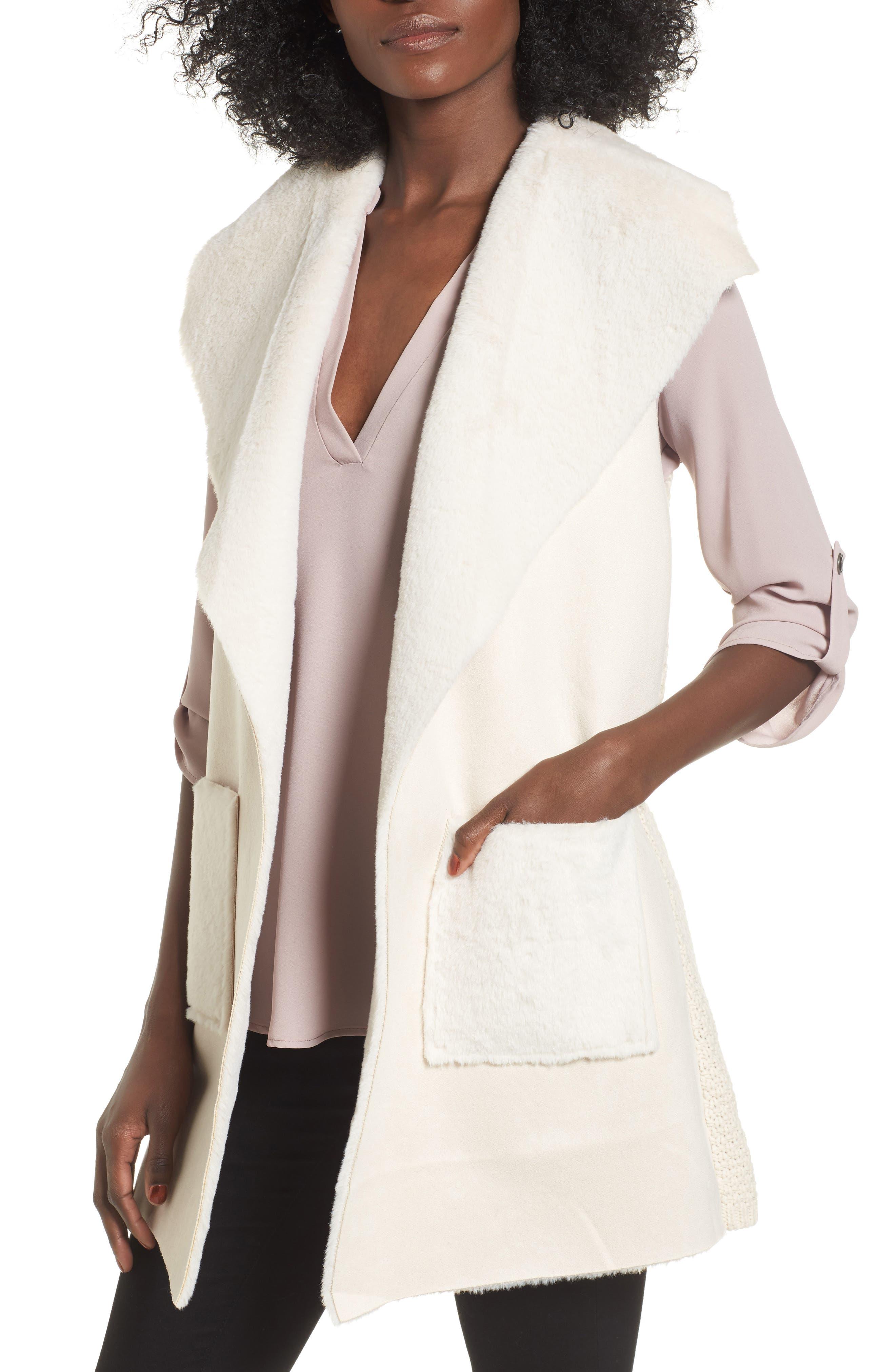 Faux Shearling Vest,                         Main,                         color, Ivory