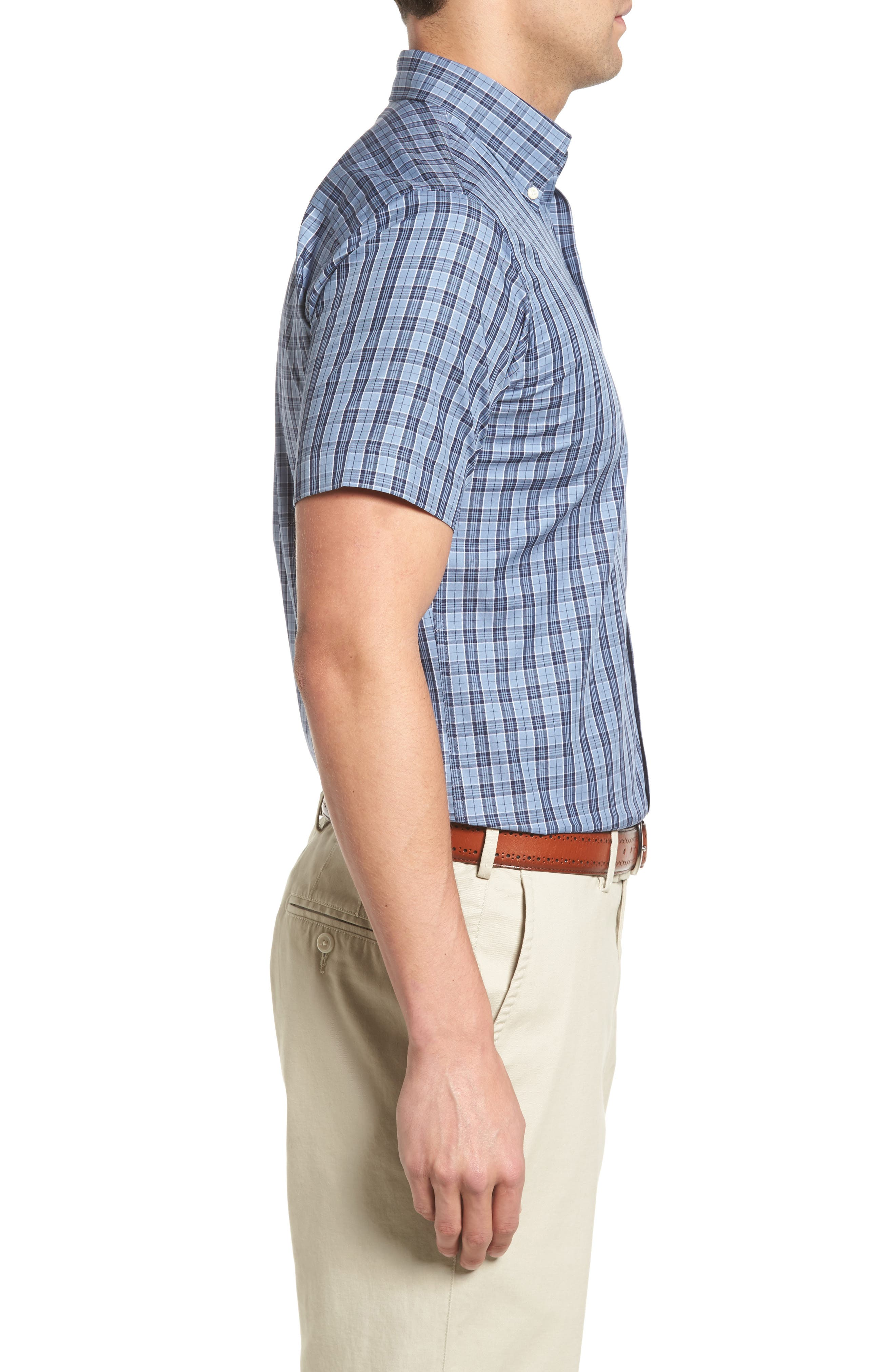 Alternate Image 3  - Peter Millar Regular Fit Short Sleeve Stormy Plaid Sport Shirt