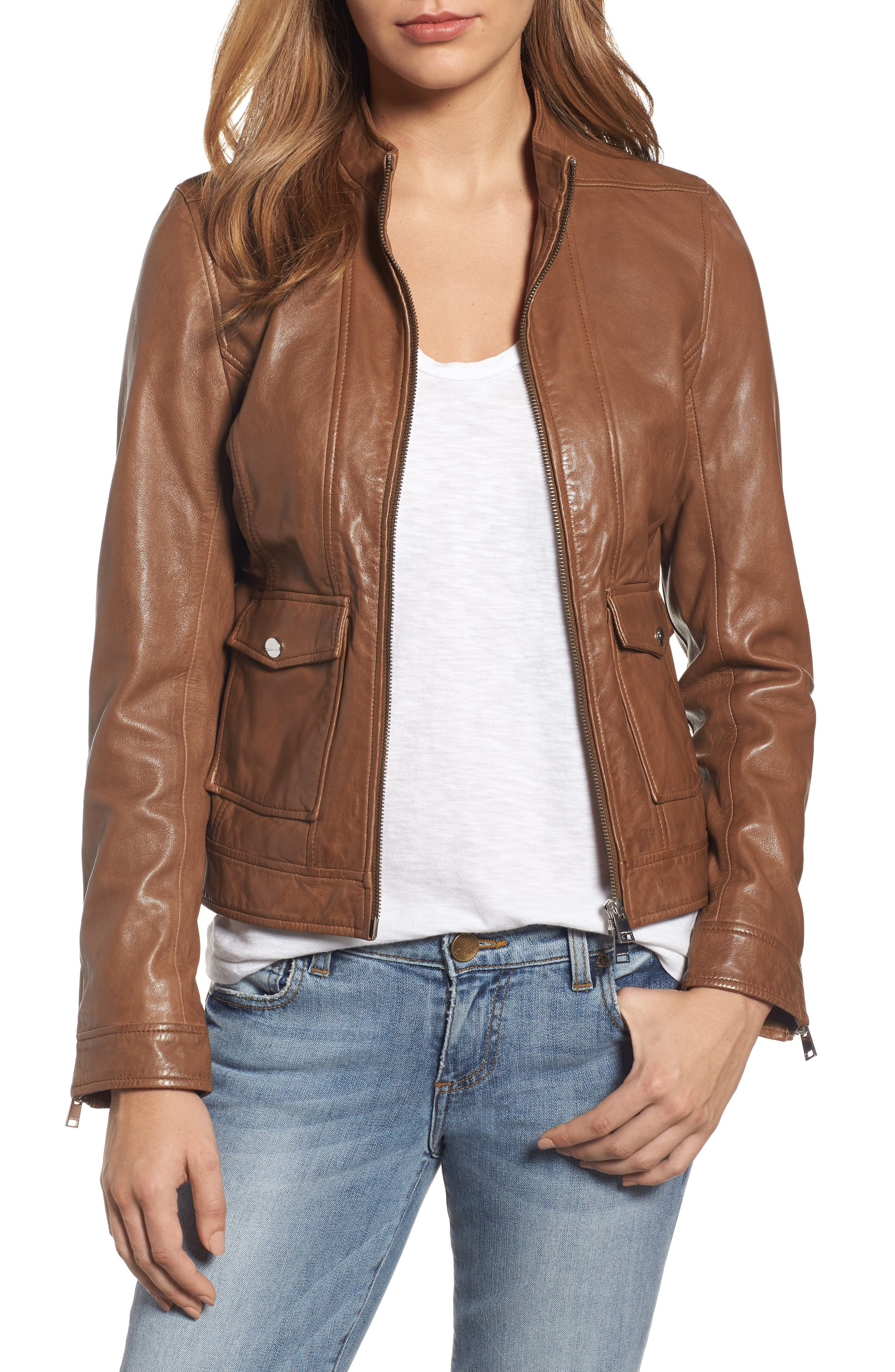 Main Image - LAMARQUE Patch Pocket Leather Biker Jacket