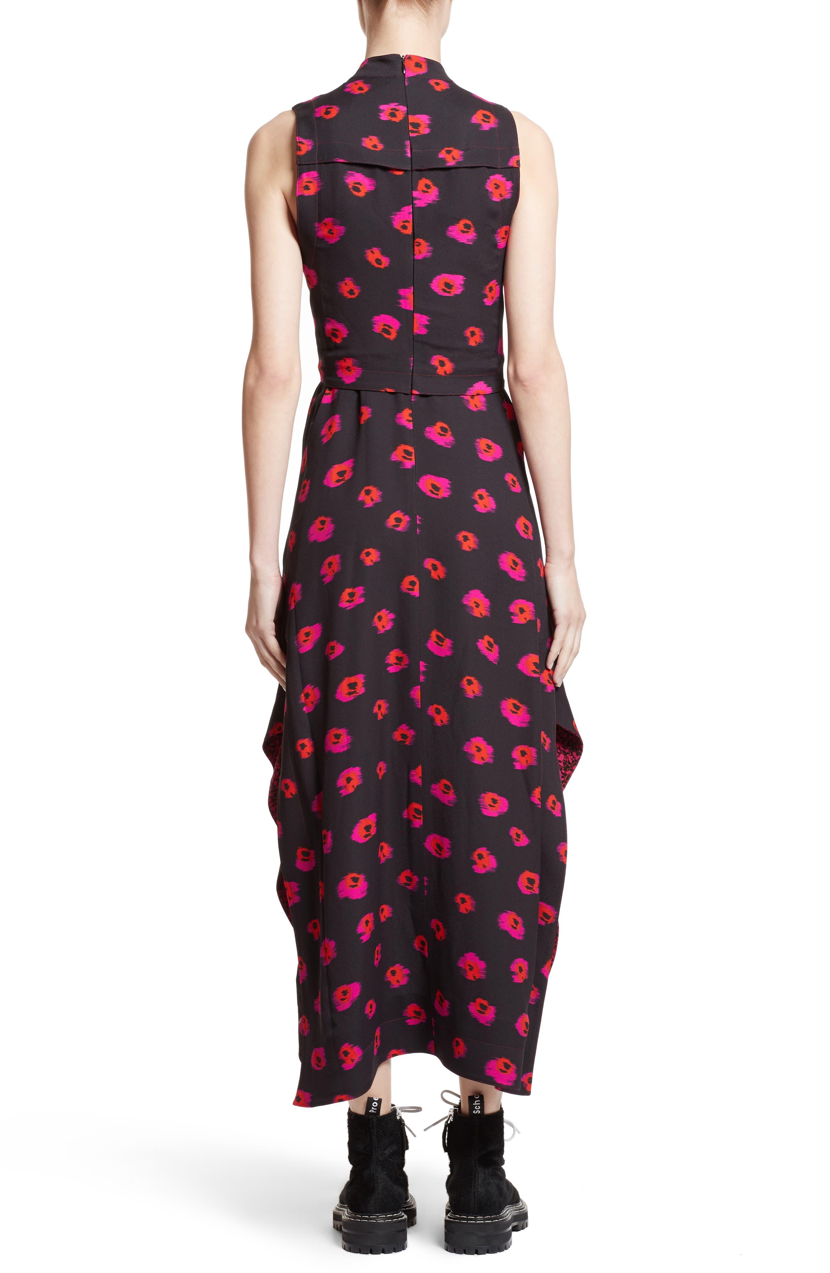 Tie Waist Ikat Maxi Dress,                             Alternate thumbnail 2, color,                             Black/ Electric Pink