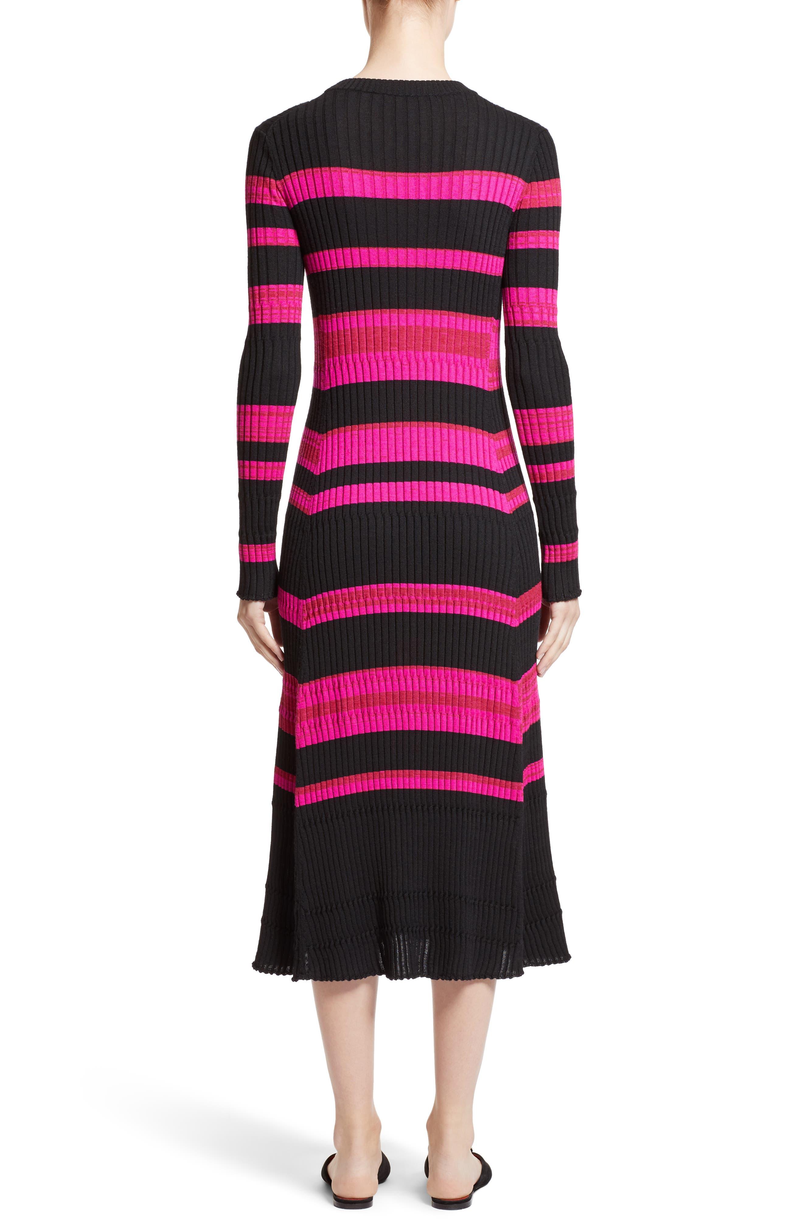 Stripe Cashmere, Wool & Silk Midi Dress,                             Alternate thumbnail 2, color,                             Black/ Electric Pink Multi