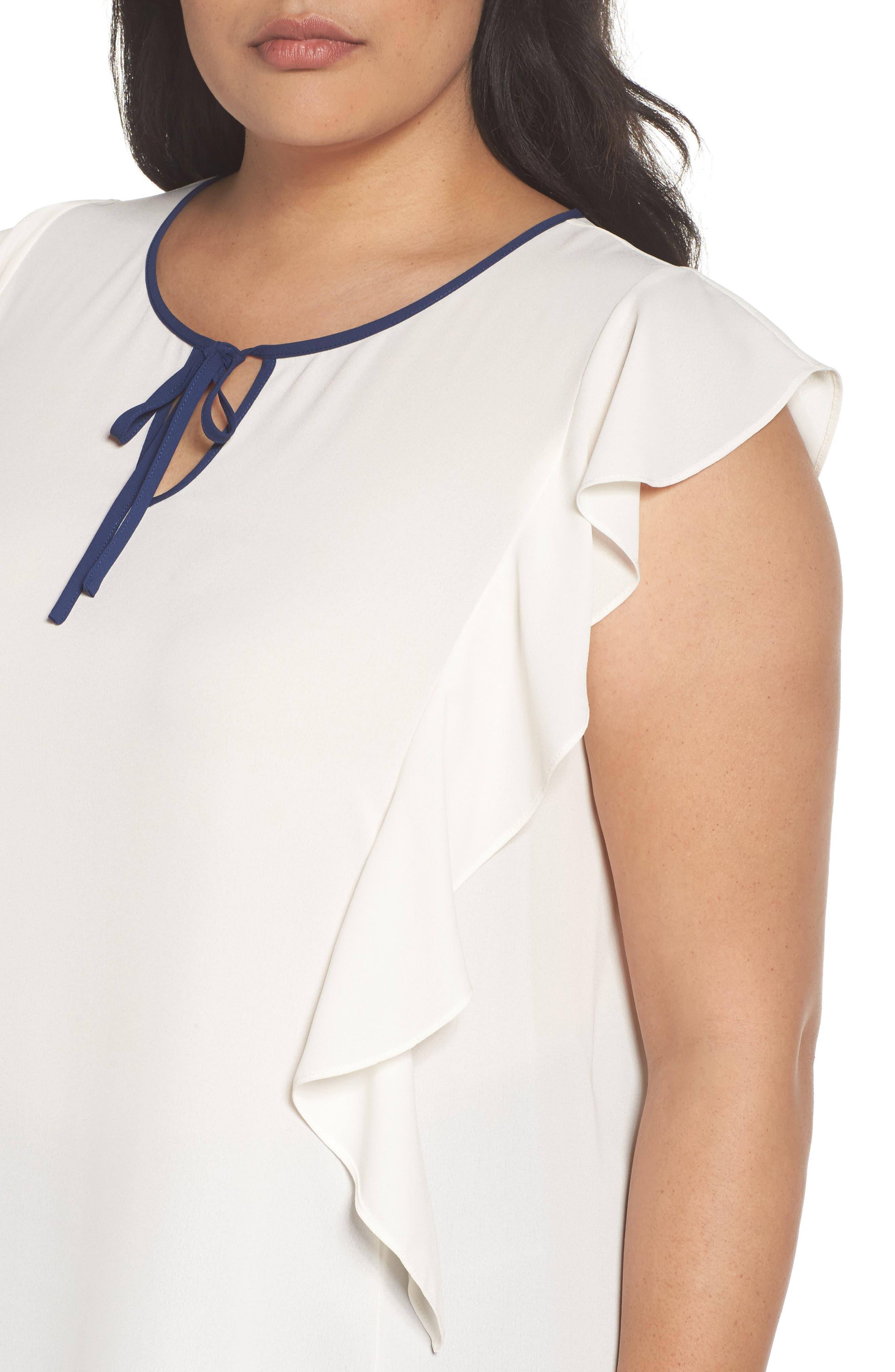 Alternate Image 5  - Sejour Flutter Sleeve Tie Neck Top (Plus Size)