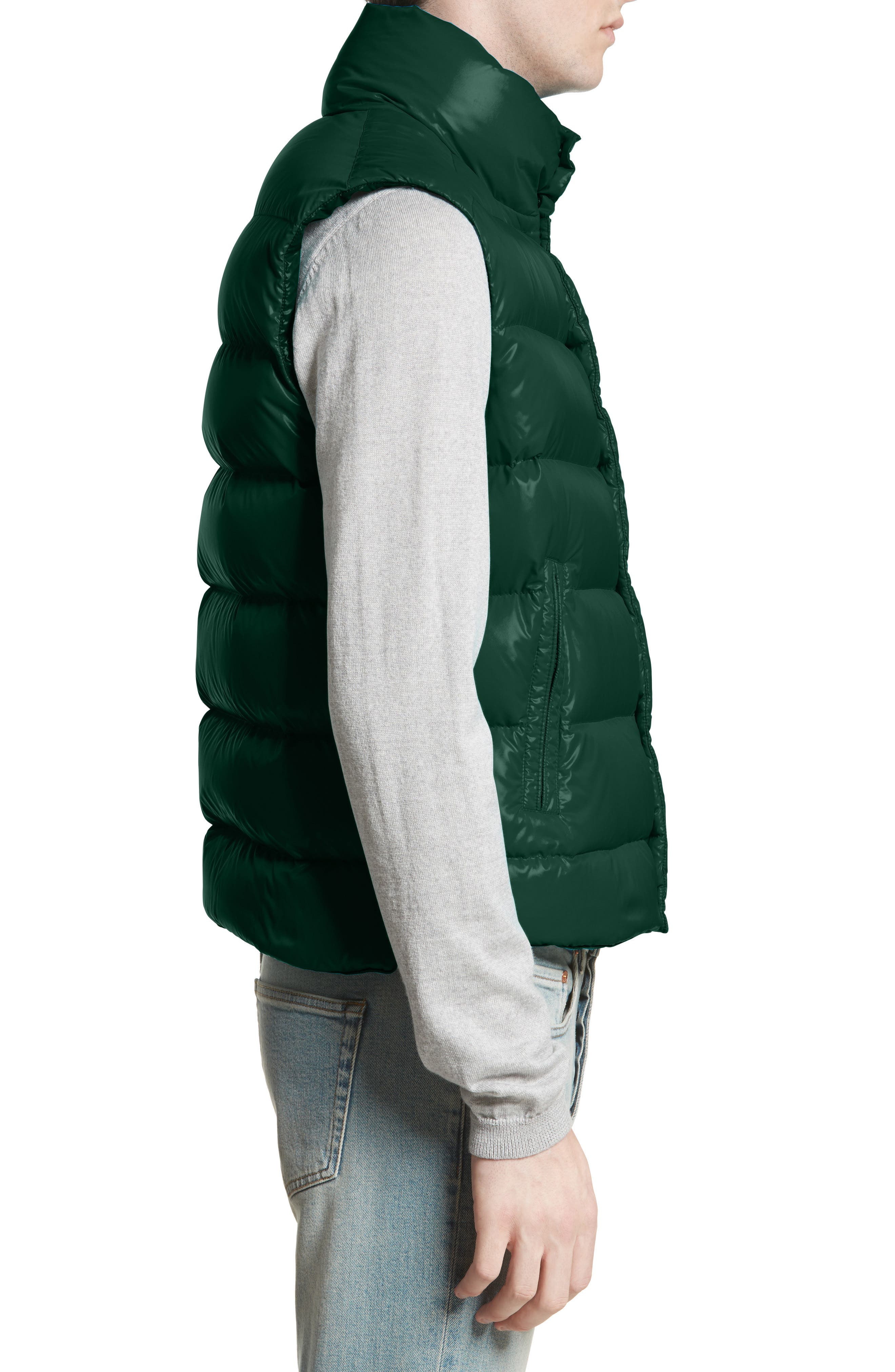 Tib Lacquered Down Vest,                             Alternate thumbnail 3, color,                             Dark Green
