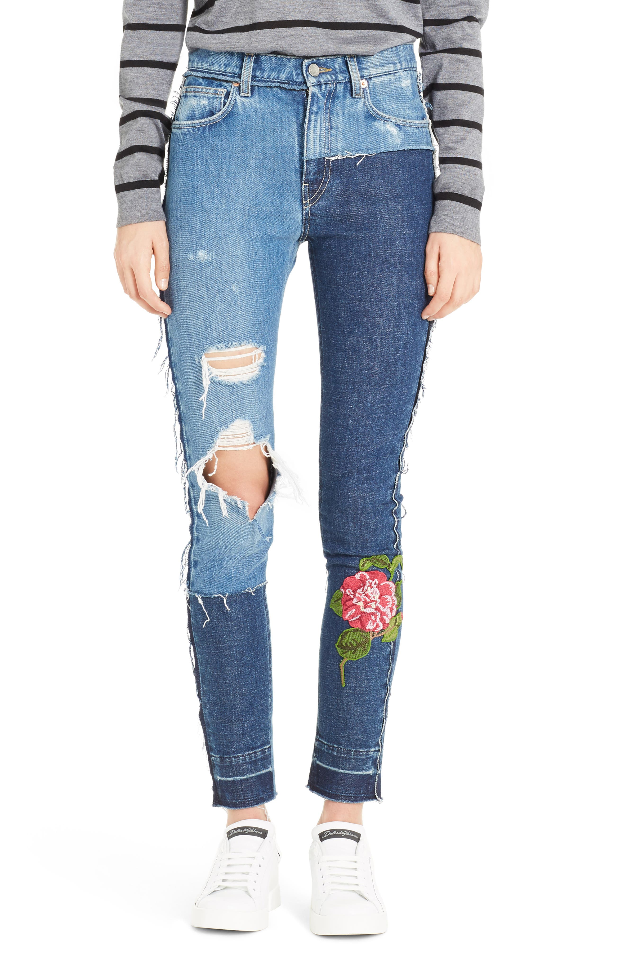 Embellished Patchwork Skinny Jeans,                             Main thumbnail 1, color,                             S9000 Denim