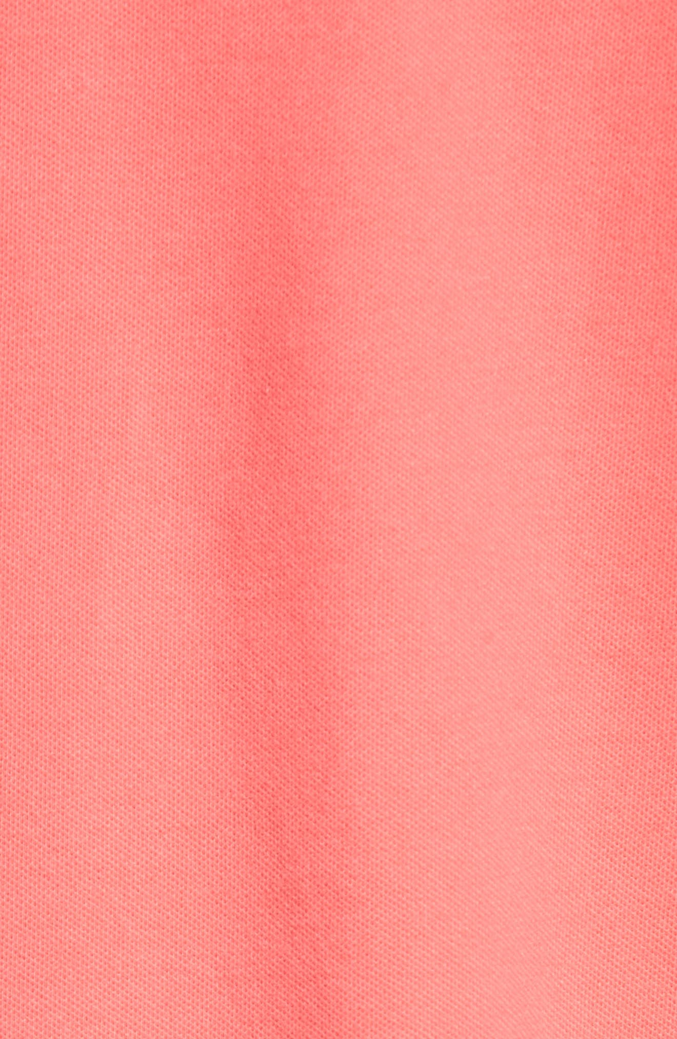 Stretch Piqué Cotton Polo,                             Alternate thumbnail 5, color,                             Coral