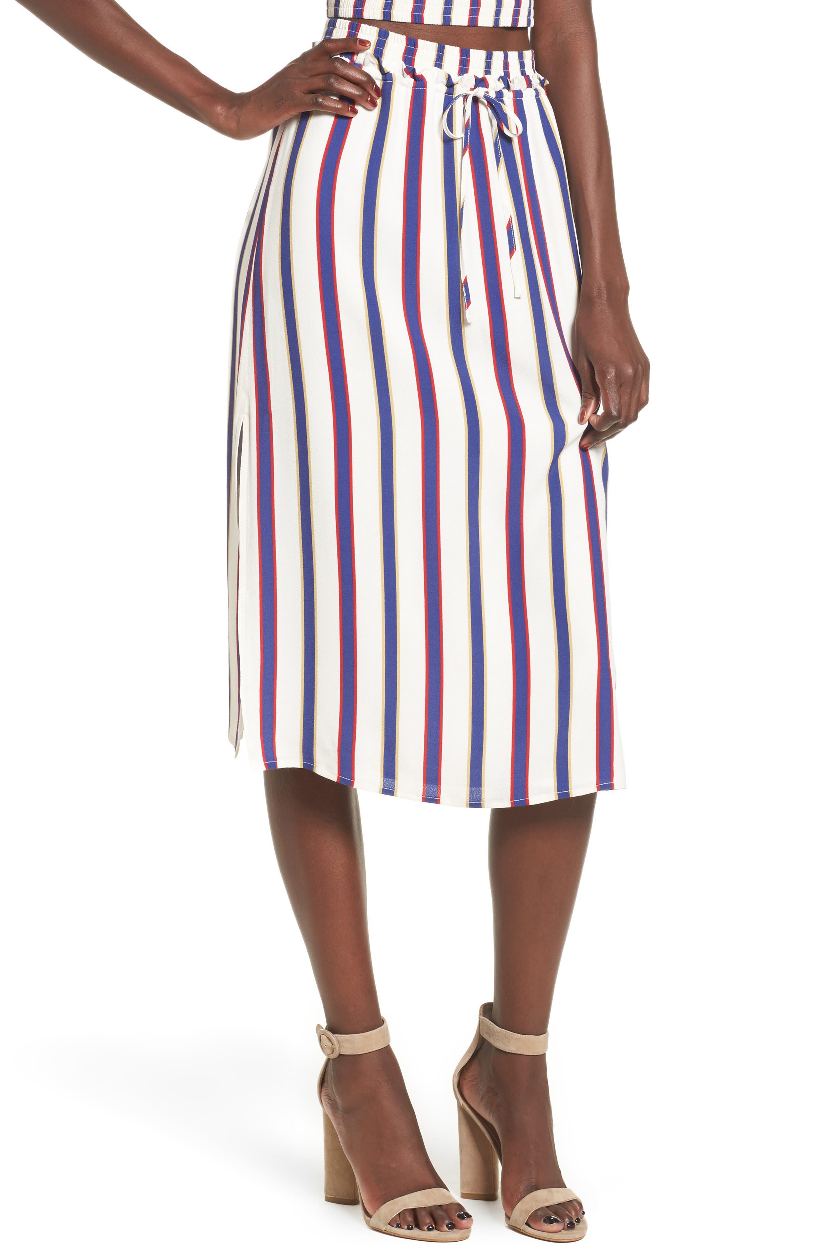 Privacy Please Stripe High Waist Skirt