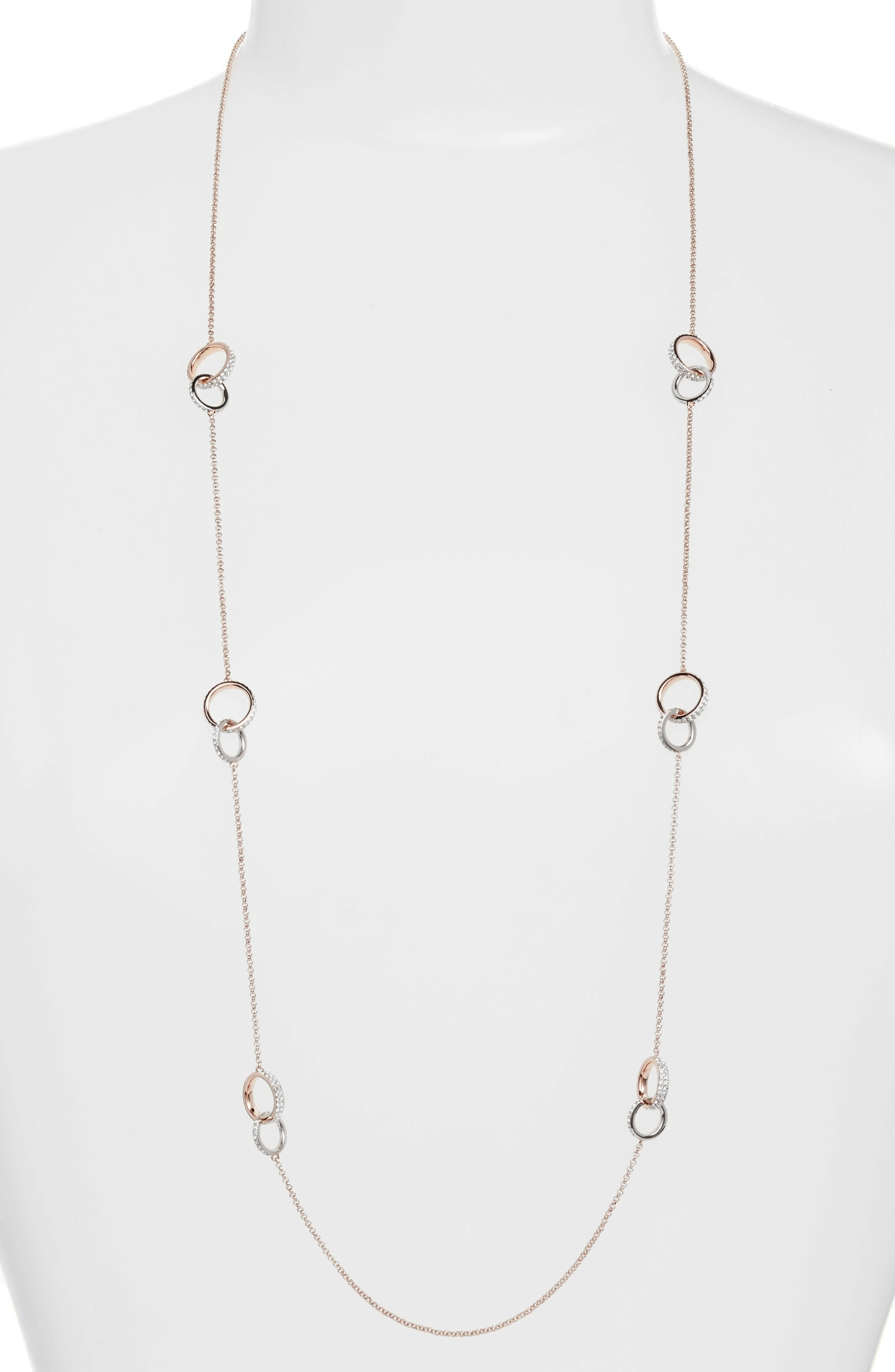 Trinity Double Link Long Necklace,                             Main thumbnail 1, color,                             Rose Gold / Silver