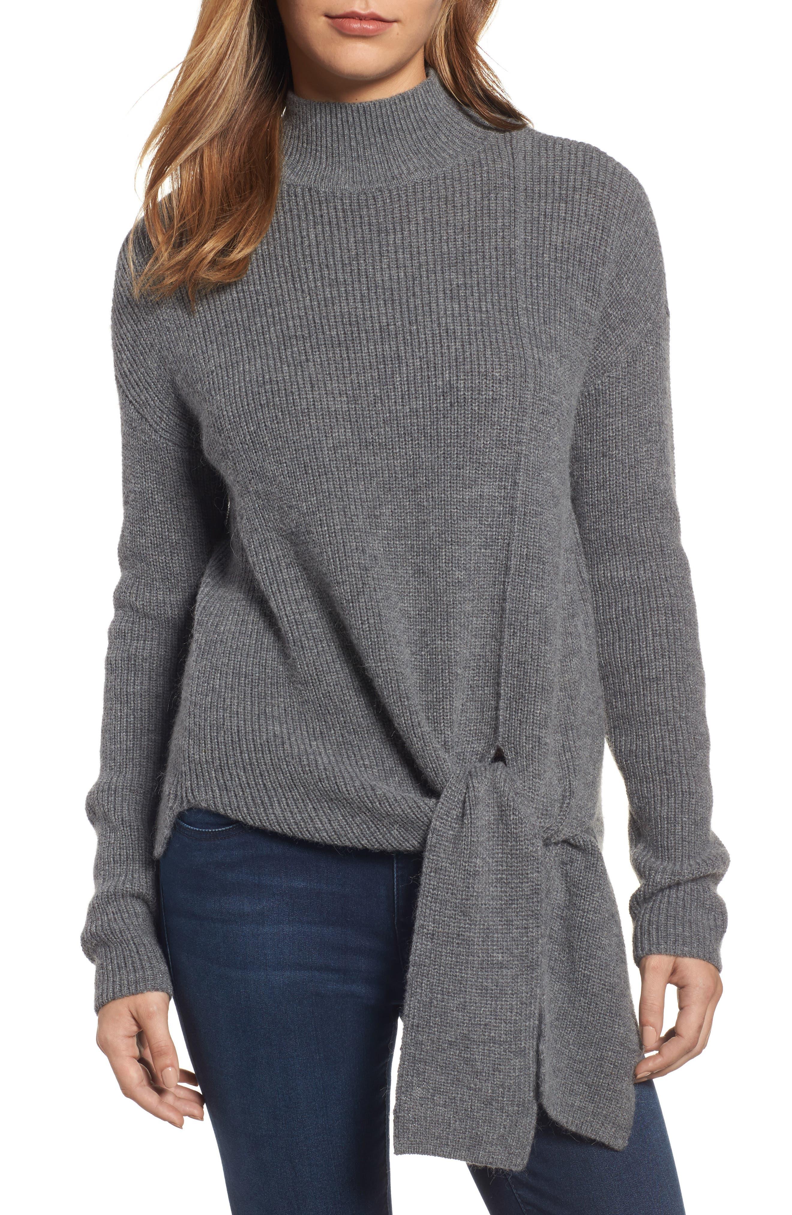 Halogen® Tie Hem Sweater (Regular & Petite)