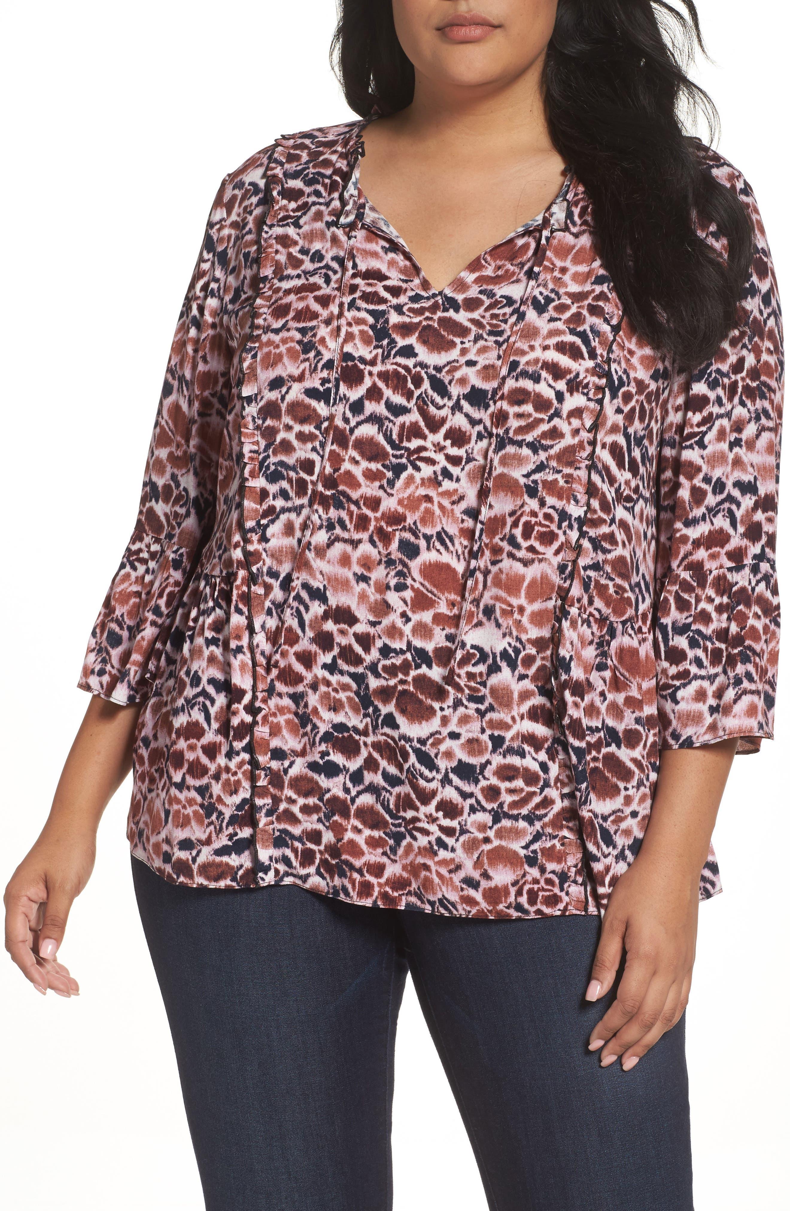 Caslon® Bell Sleeve Print Blouse (Plus Size)