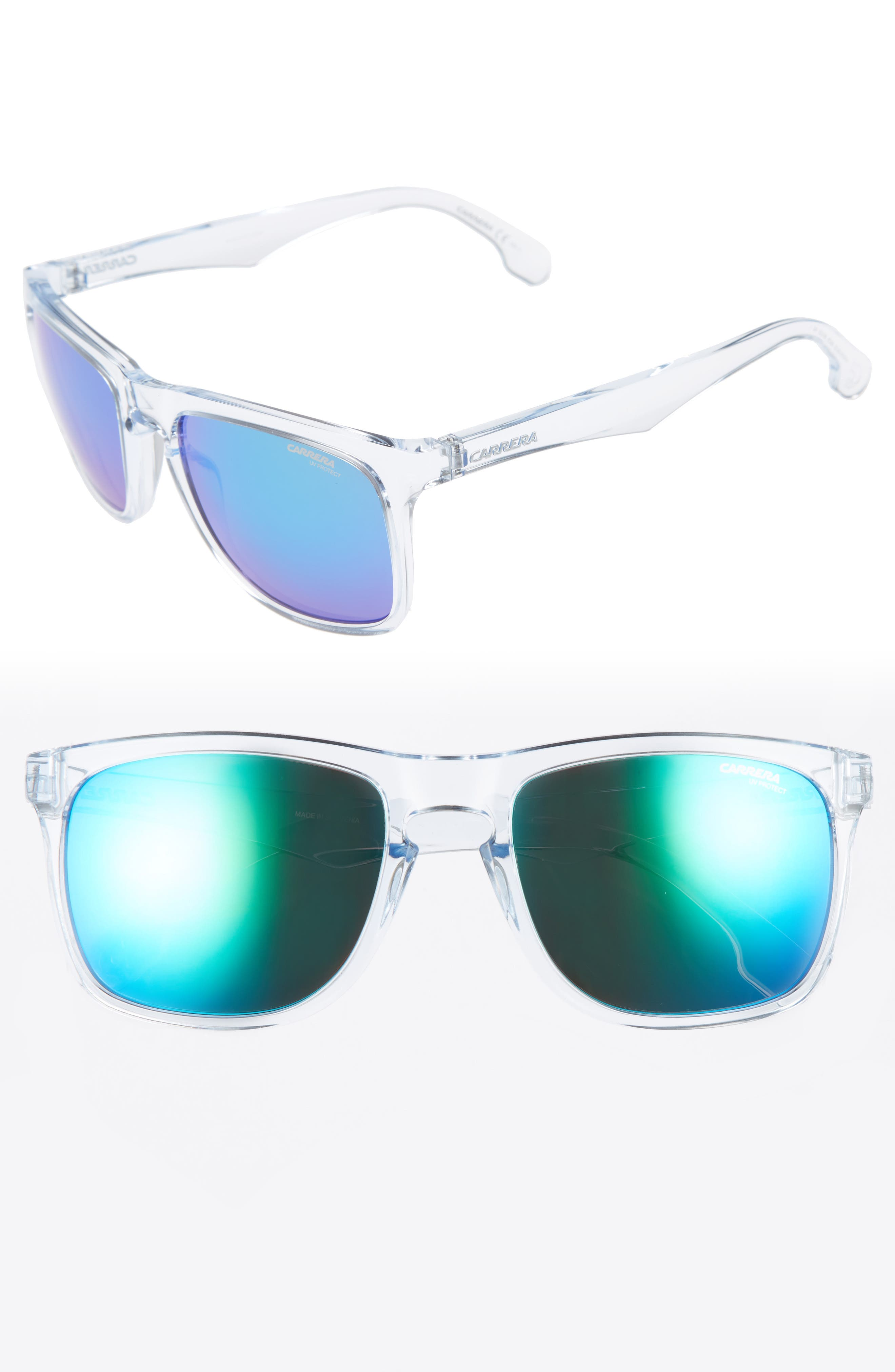 56mm Mirrored Lens Sunglasses,                         Main,                         color, Crystal/ Green