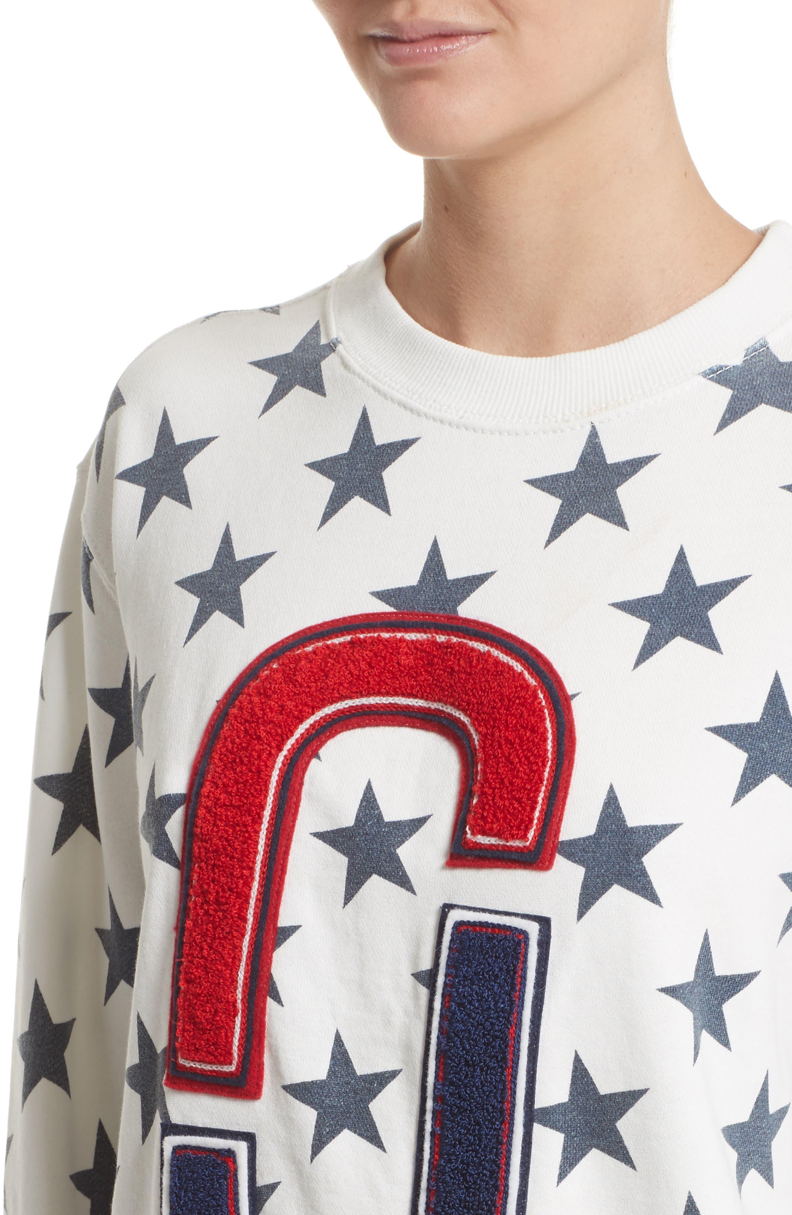 '90s Star Print Sweatshirt,                             Alternate thumbnail 6, color,                             Ivory Multi
