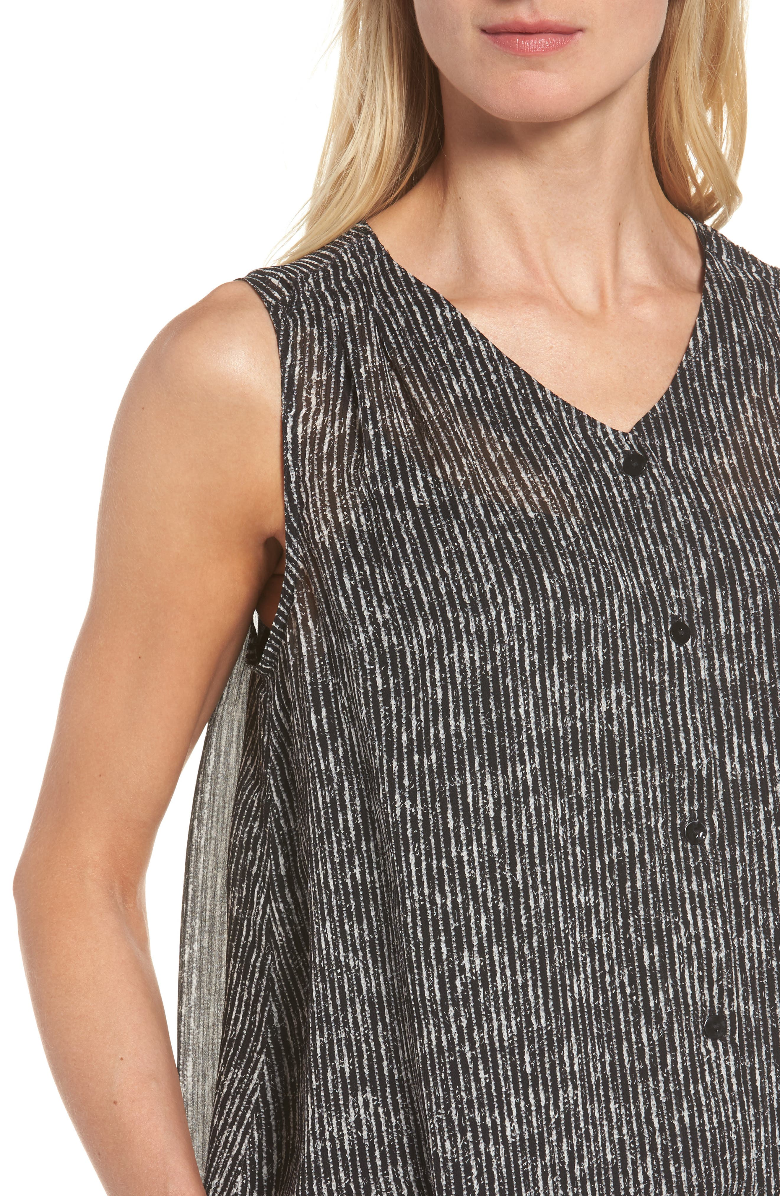 Print Silk Tank,                             Alternate thumbnail 4, color,                             Black