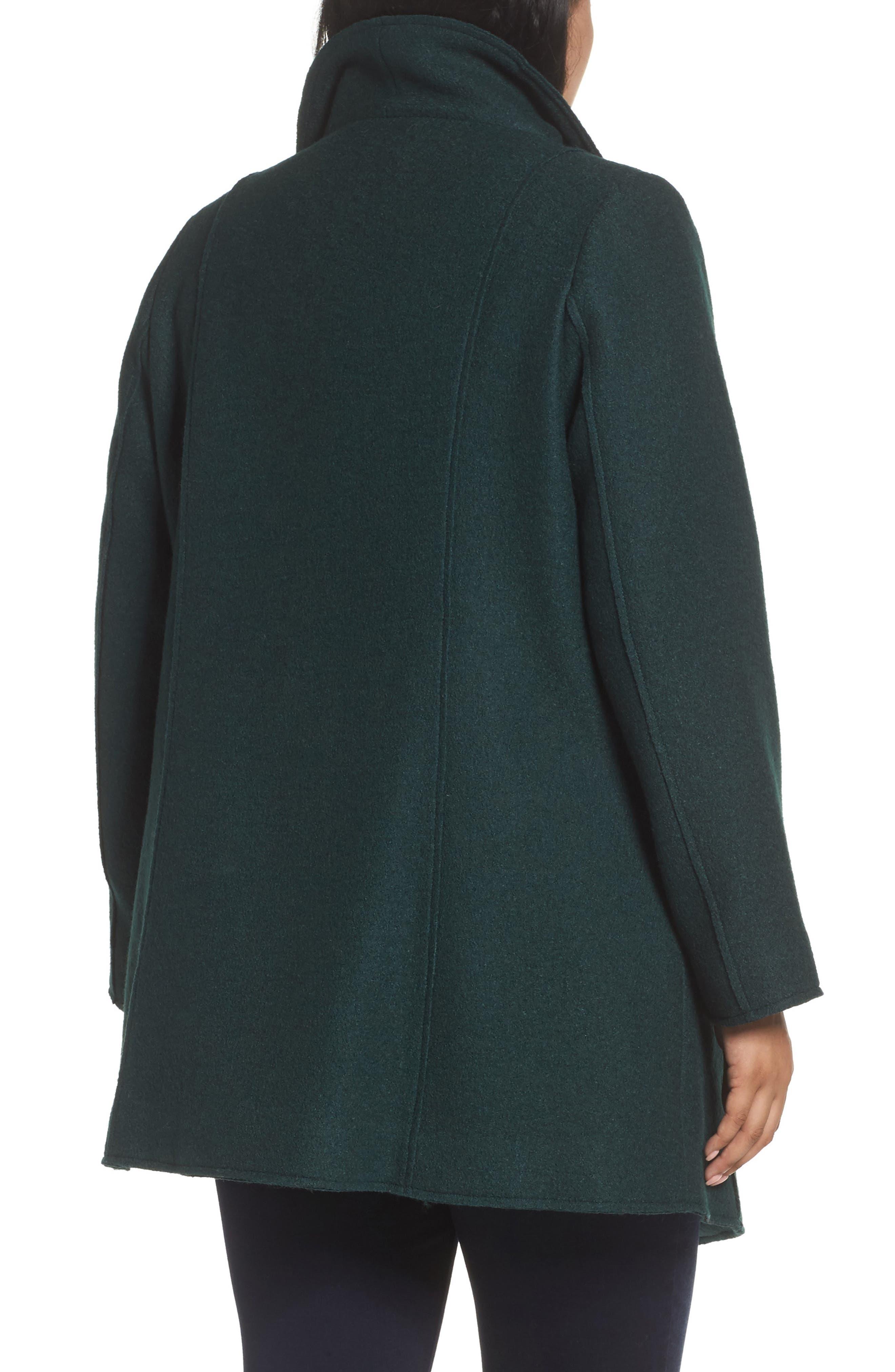 Asymmetrical Zip Boiled Wool Blend Coat,                             Alternate thumbnail 2, color,                             Green Ponderosa