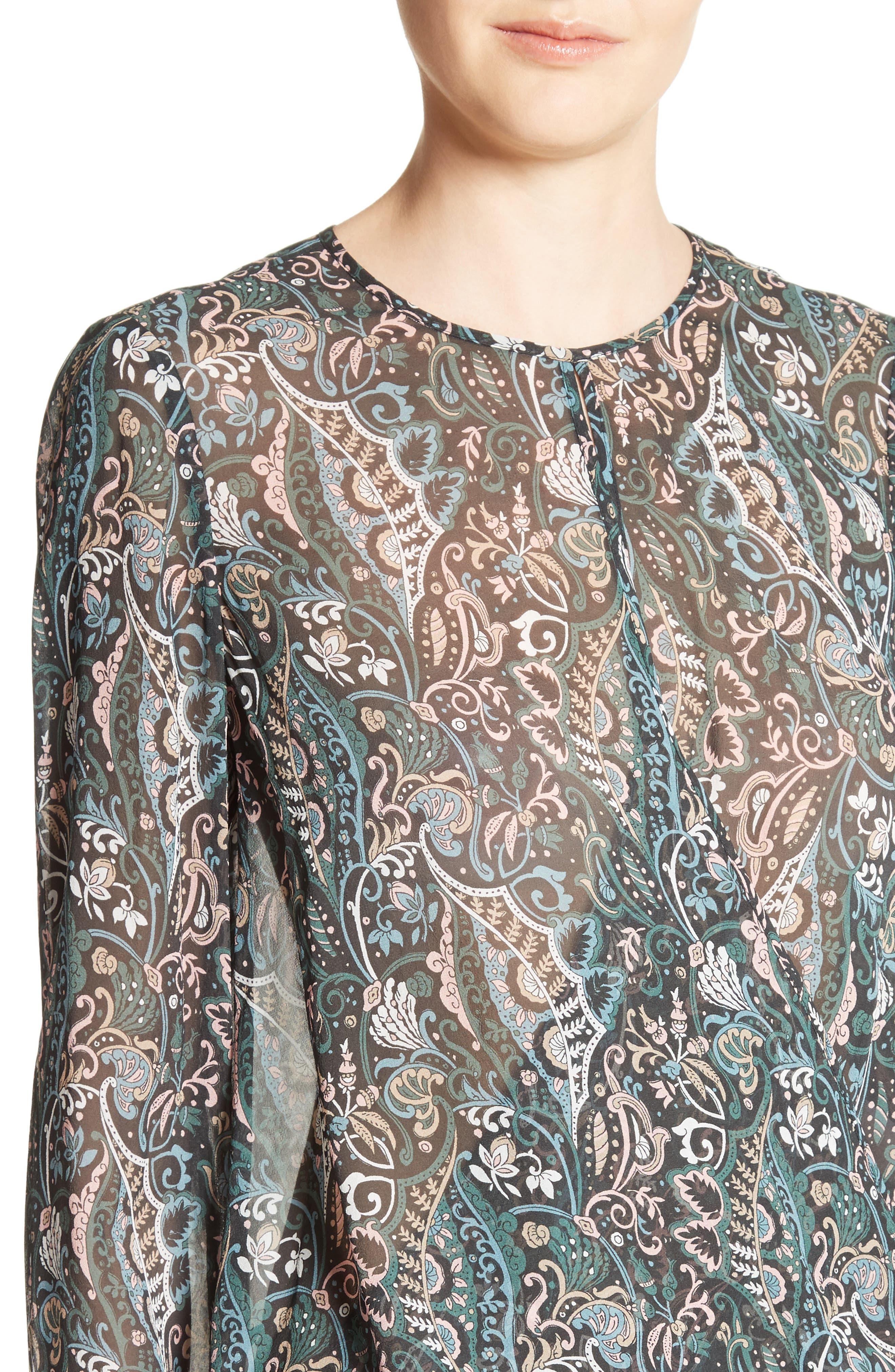 Gayle Paisley Print Silk Blouse,                             Alternate thumbnail 4, color,                             Nude/ Blue/ Green Multi