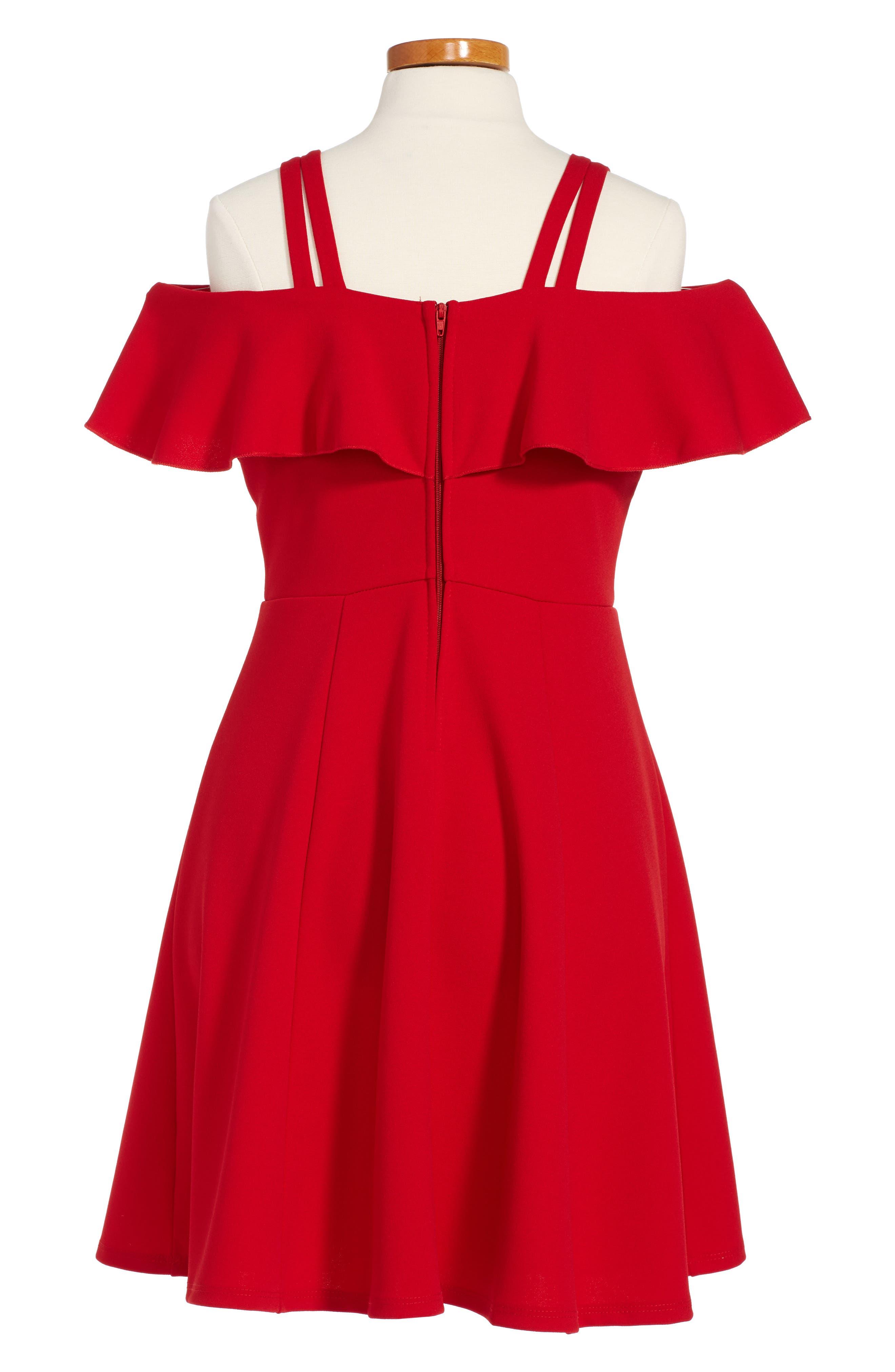 Alternate Image 2  - Love, Nickie Lew Off the Shoulder Ruffle Dress (Big Girls)