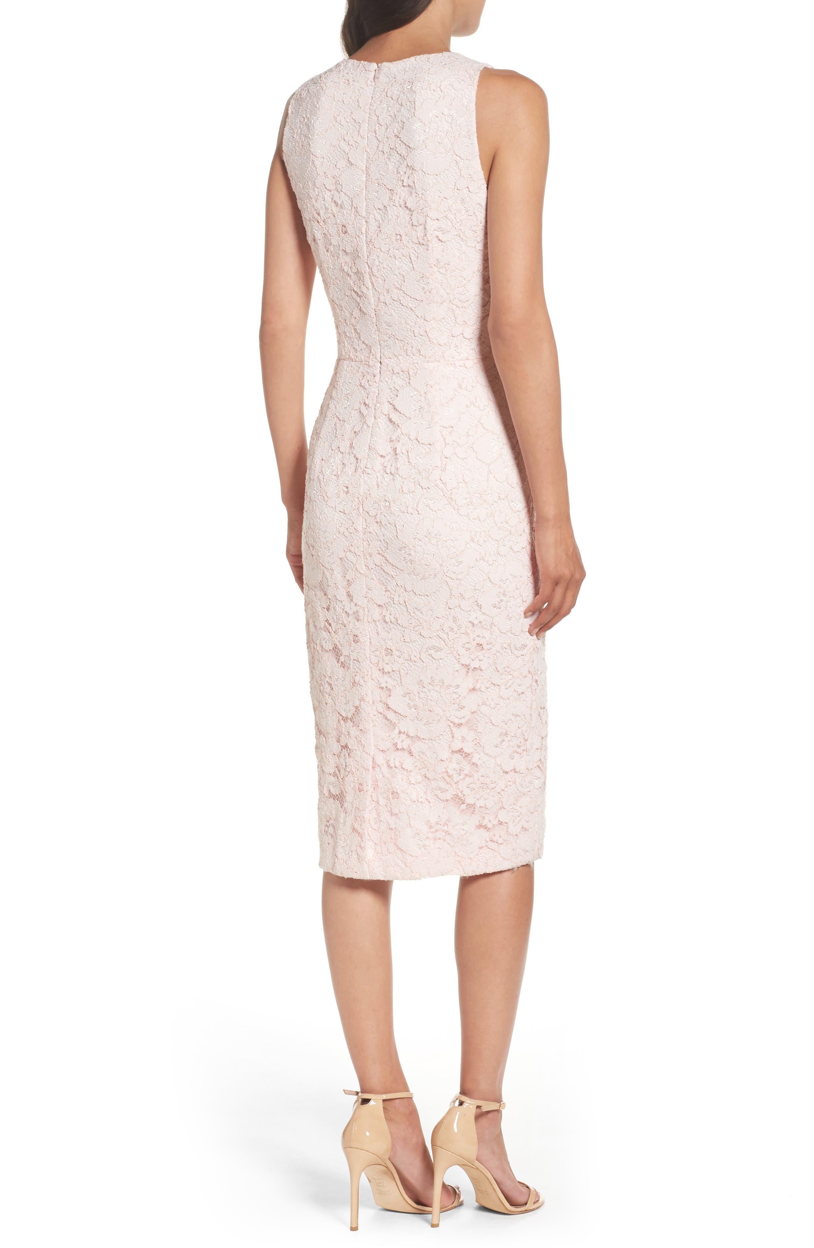 Appliqué Lace Sheath Dress,                             Alternate thumbnail 2, color,                             Rose