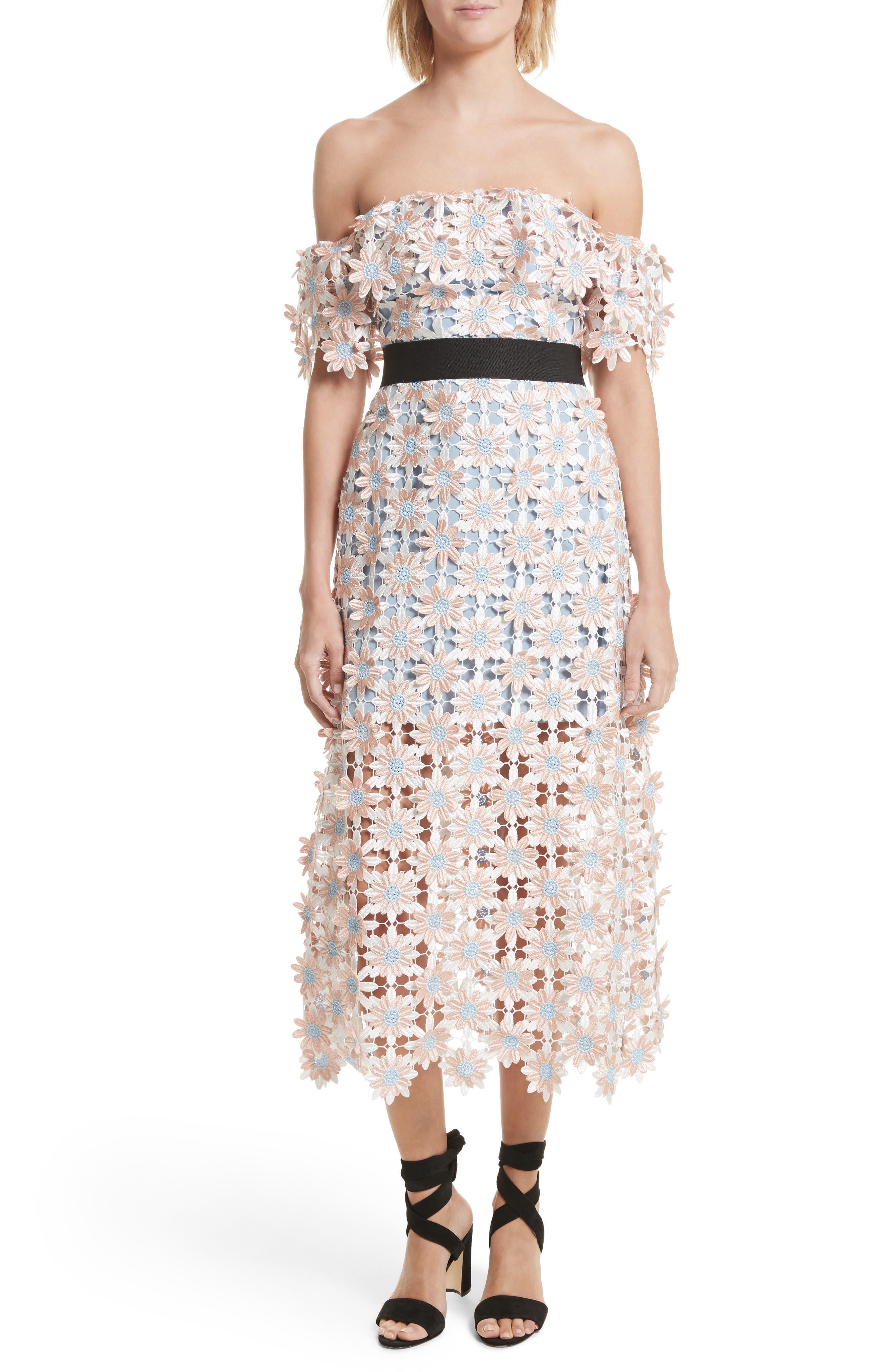 Self-Portrait 3D Floral Lace Off the Shoulder Midi Dress