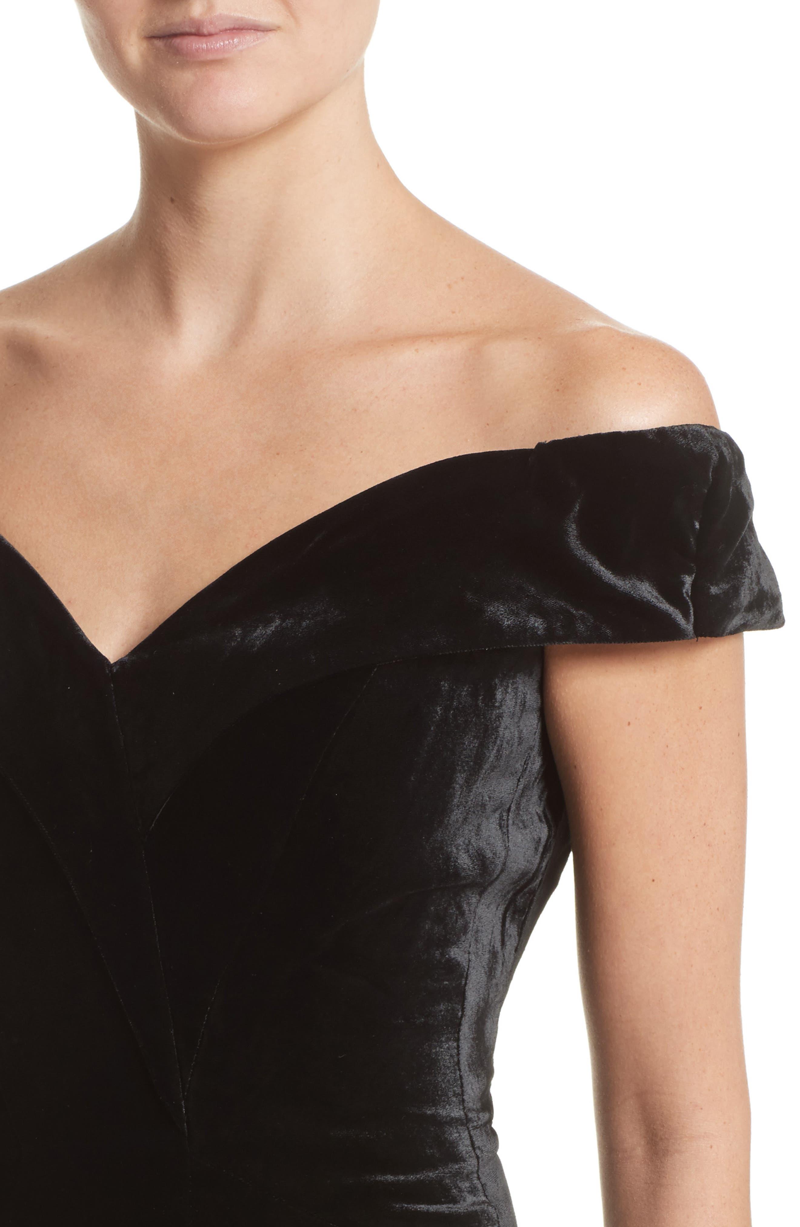 Alternate Image 4  - Rachel Gilbert Violetta Velvet Off the Shoulder Gown