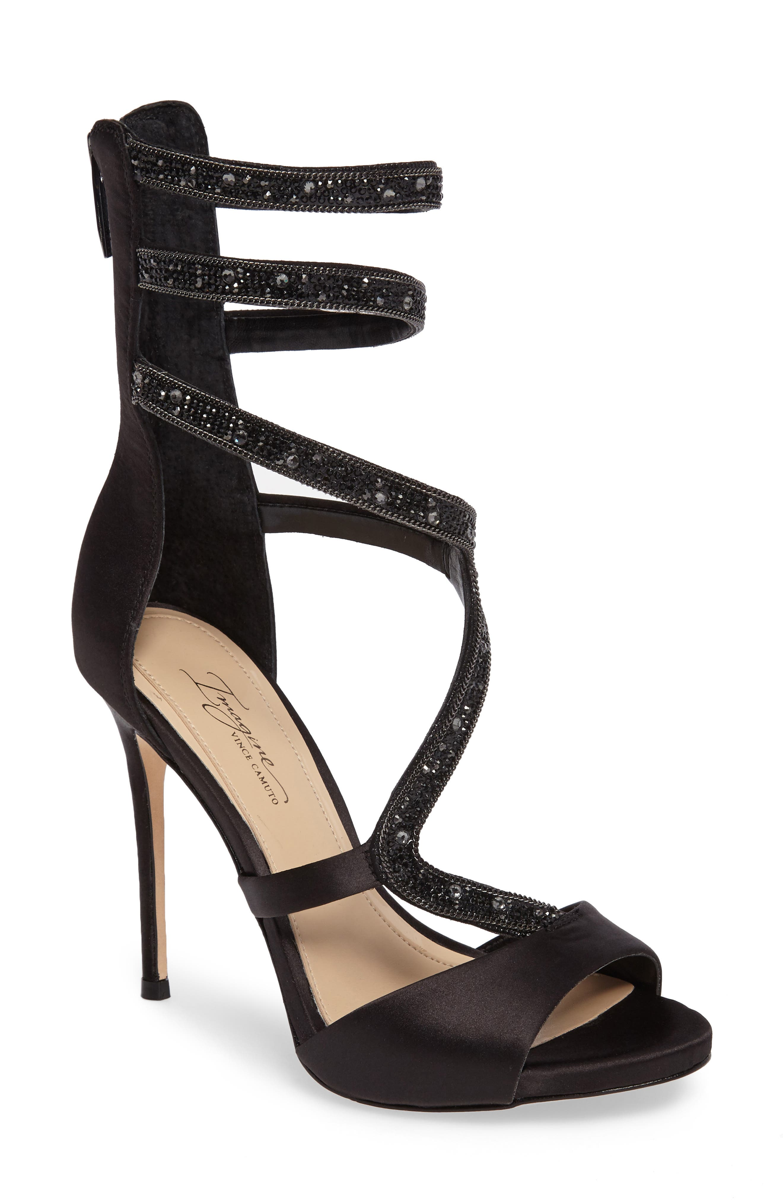 Imagine Vince Camuto Dafny Embellished Sandal,                             Main thumbnail 1, color,                             Black Satin